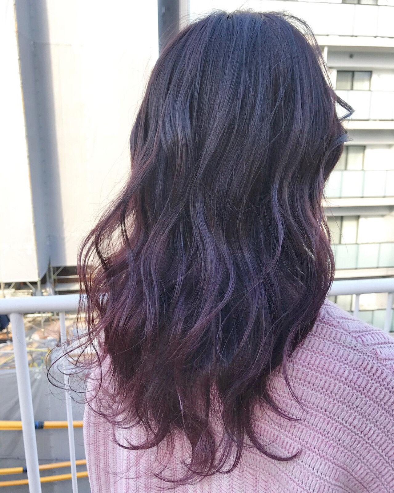 グラデーションカラー ストリート デート パープルヘアスタイルや髪型の写真・画像