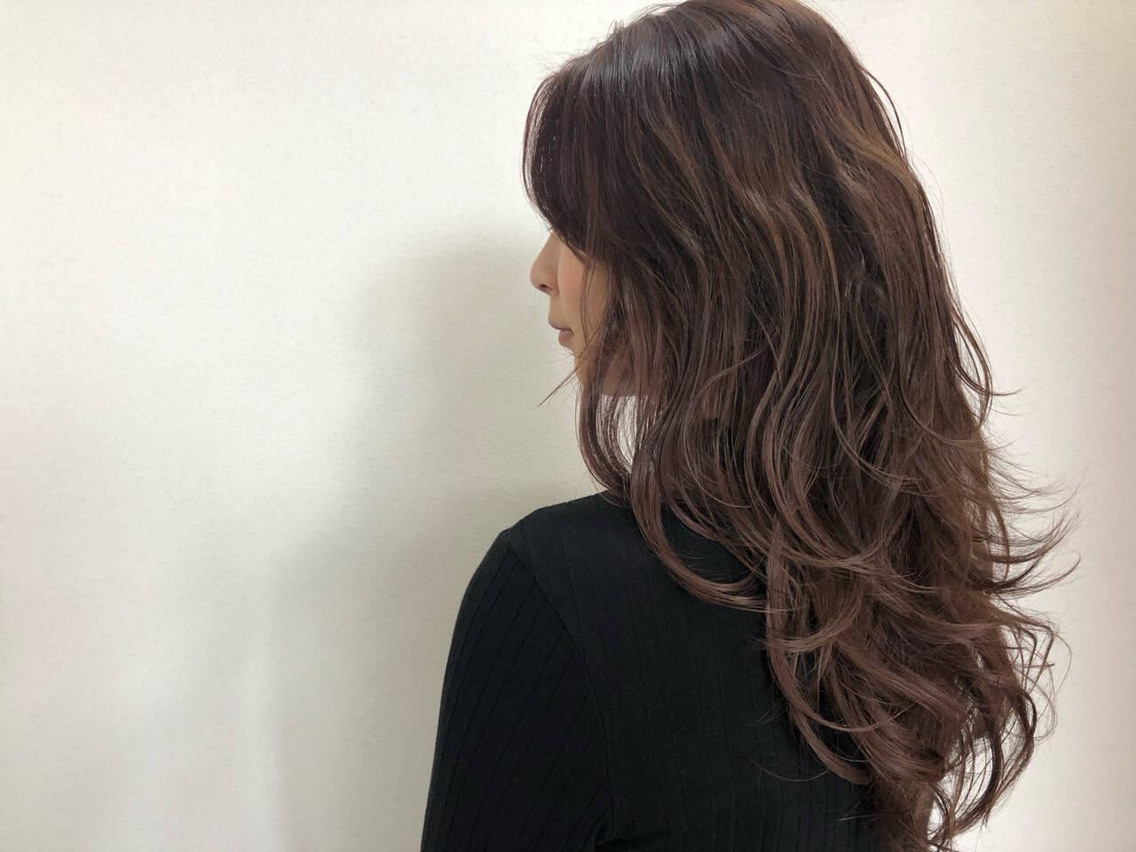 ピンクバイオレット ナチュラル セミロング ピンクラベンダーヘアスタイルや髪型の写真・画像