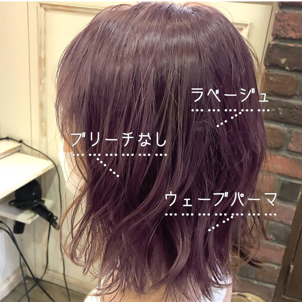 ラベンダーアッシュ ラベンダーグレージュ ラベンダーカラー ピンクラベンダーヘアスタイルや髪型の写真・画像