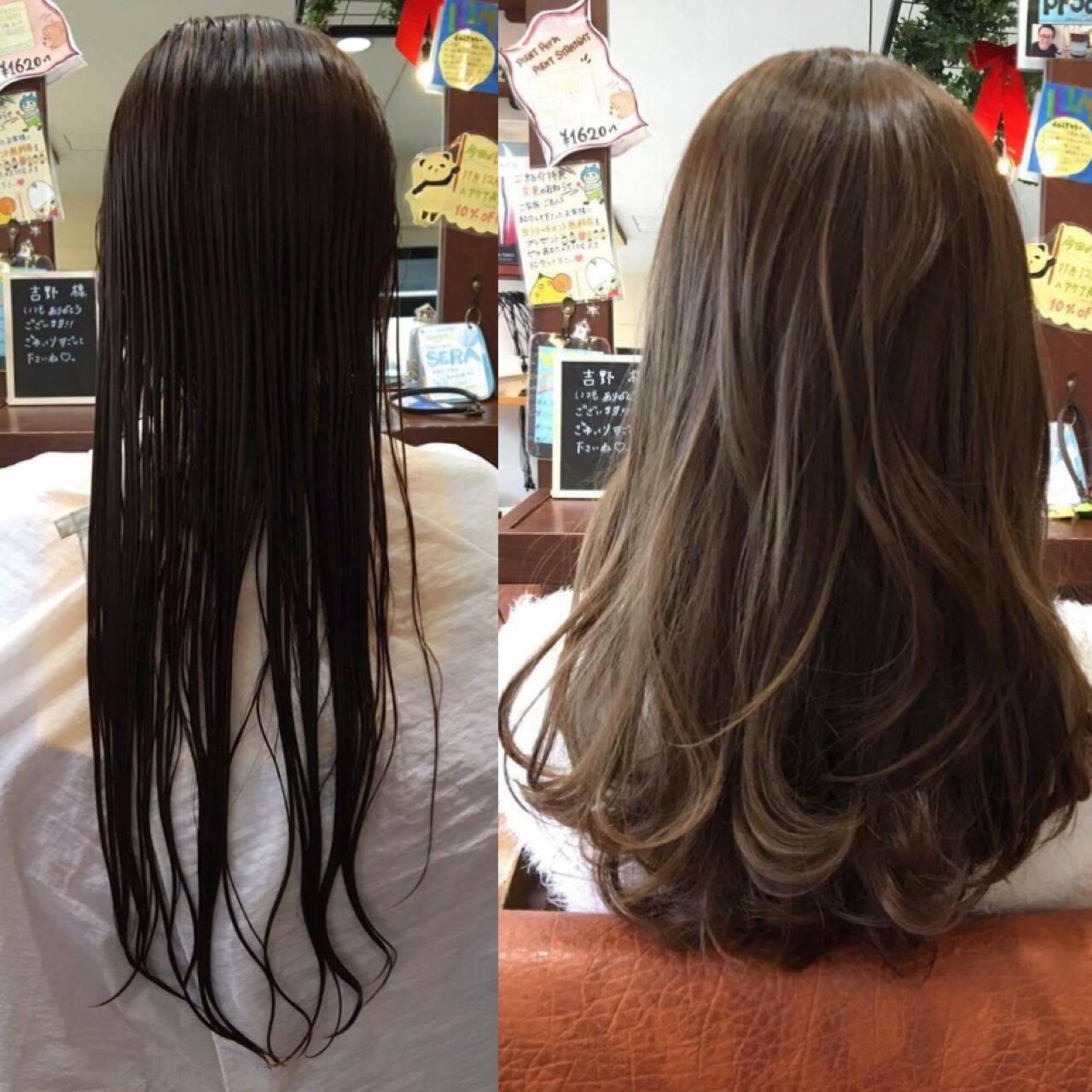 暗髪 セミロング 外国人風 ナチュラルヘアスタイルや髪型の写真・画像