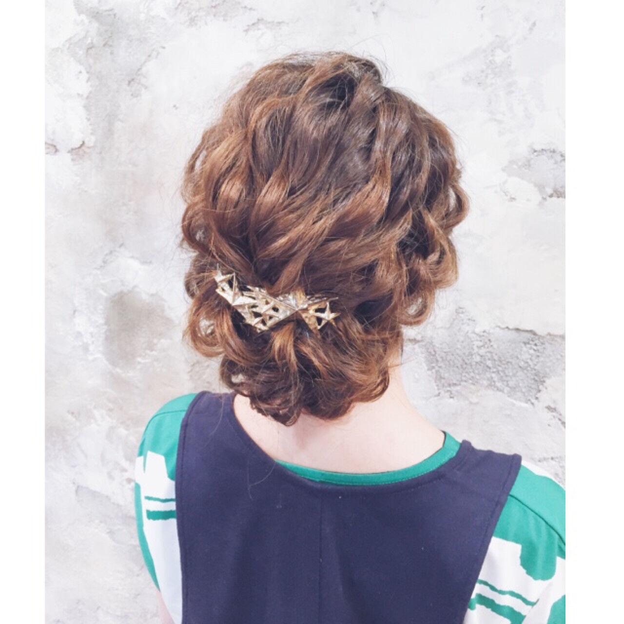 簡単ヘアアレンジ ショート ロング ハーフアップヘアスタイルや髪型の写真・画像