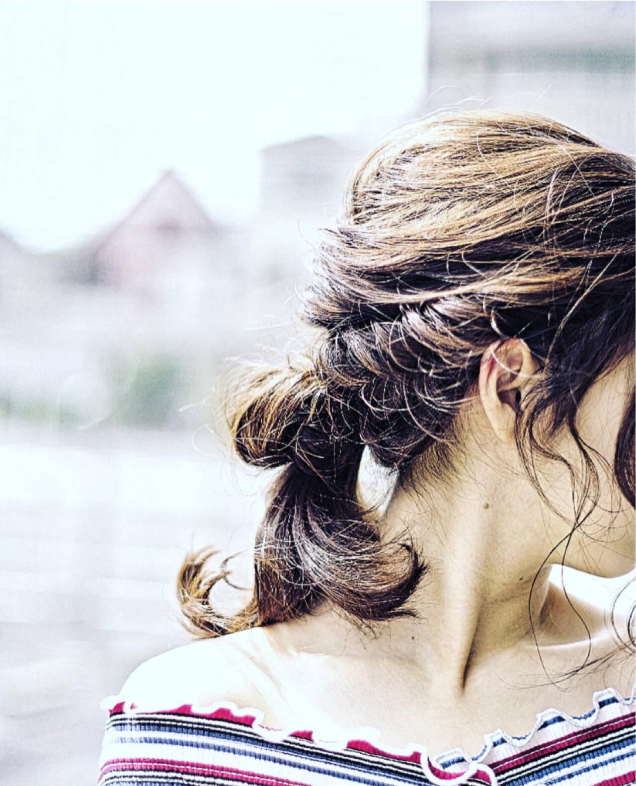 大人かわいい 簡単ヘアアレンジ 夏 ミディアムヘアスタイルや髪型の写真・画像