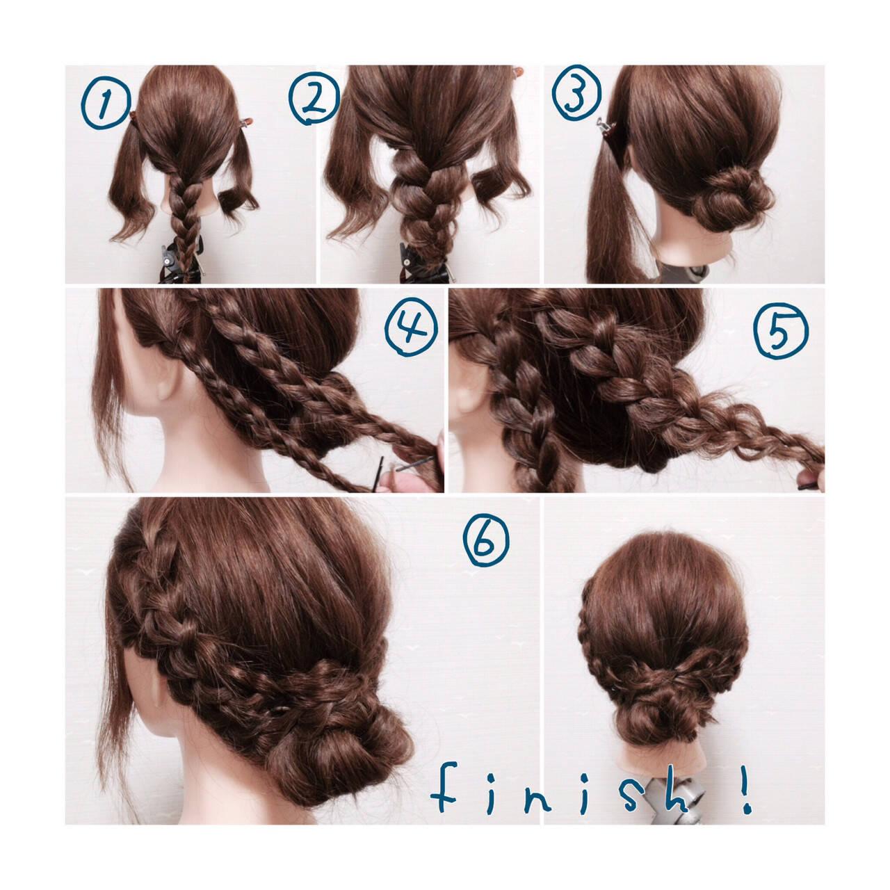 ショート お団子 ヘアアレンジ 三つ編みヘアスタイルや髪型の写真・画像