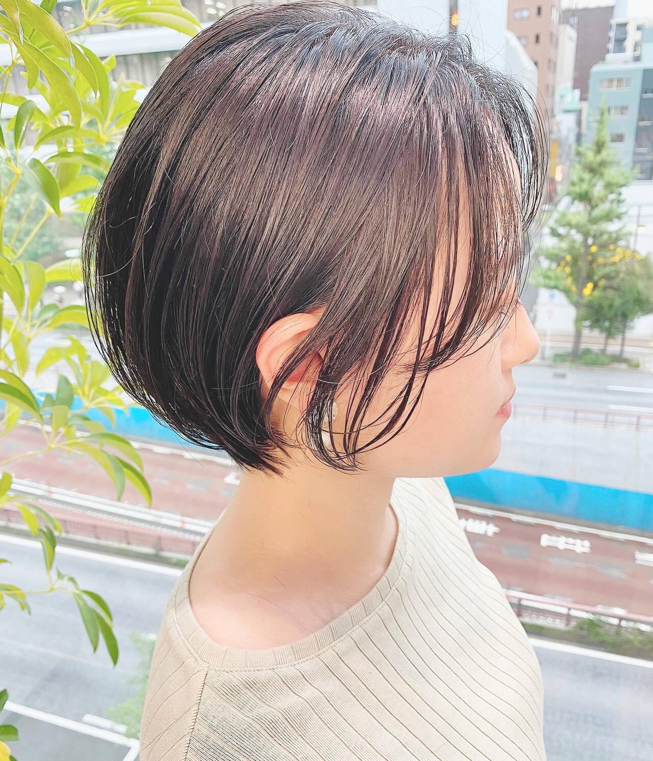 デート ナチュラル ベリーショート ショートヘアスタイルや髪型の写真・画像