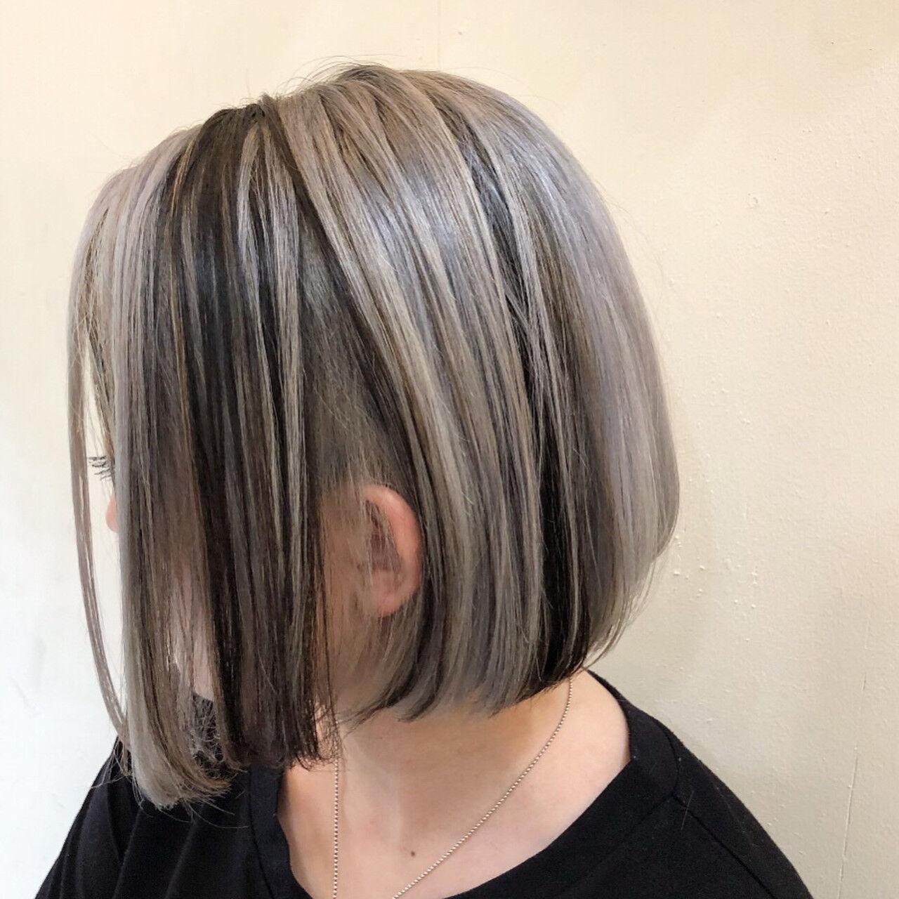 グラデーションカラー ショートボブ ハイライト インナーカラーヘアスタイルや髪型の写真・画像