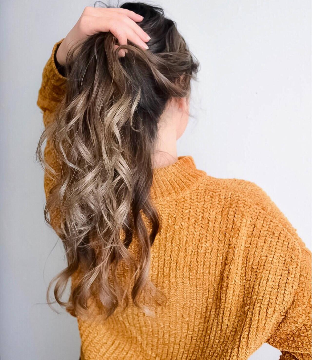 外国人風カラー グラデーションカラー ロング ハイライトヘアスタイルや髪型の写真・画像