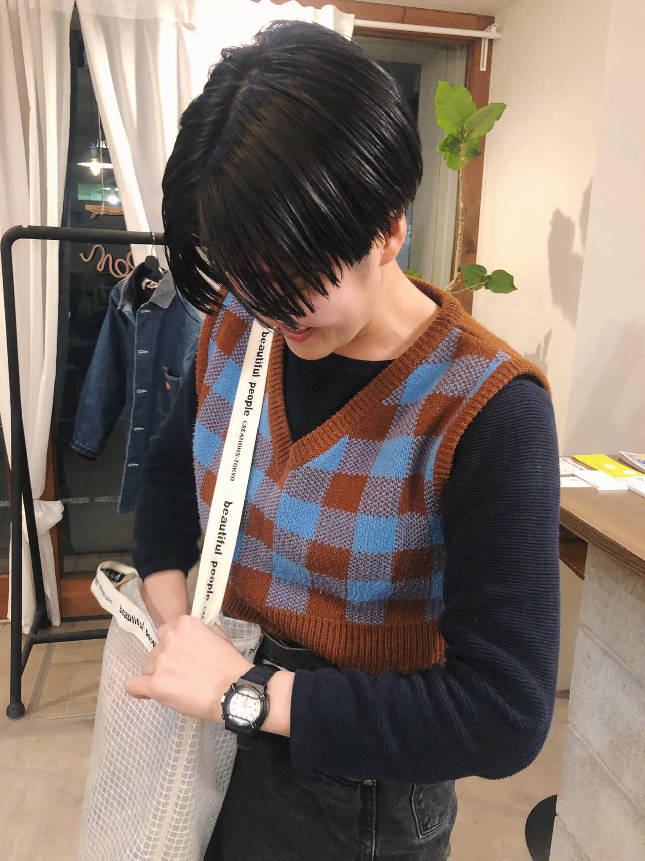 ヘアアレンジ ストリート 黒髪 マッシュショートヘアスタイルや髪型の写真・画像