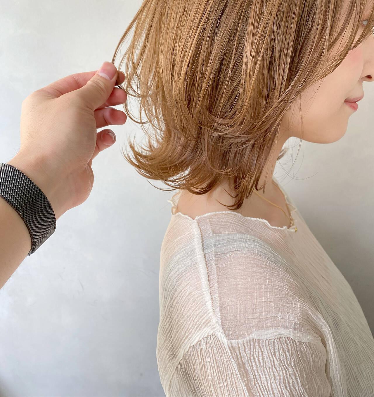 切りっぱなしボブ ボブ アンニュイほつれヘア 簡単ヘアアレンジヘアスタイルや髪型の写真・画像