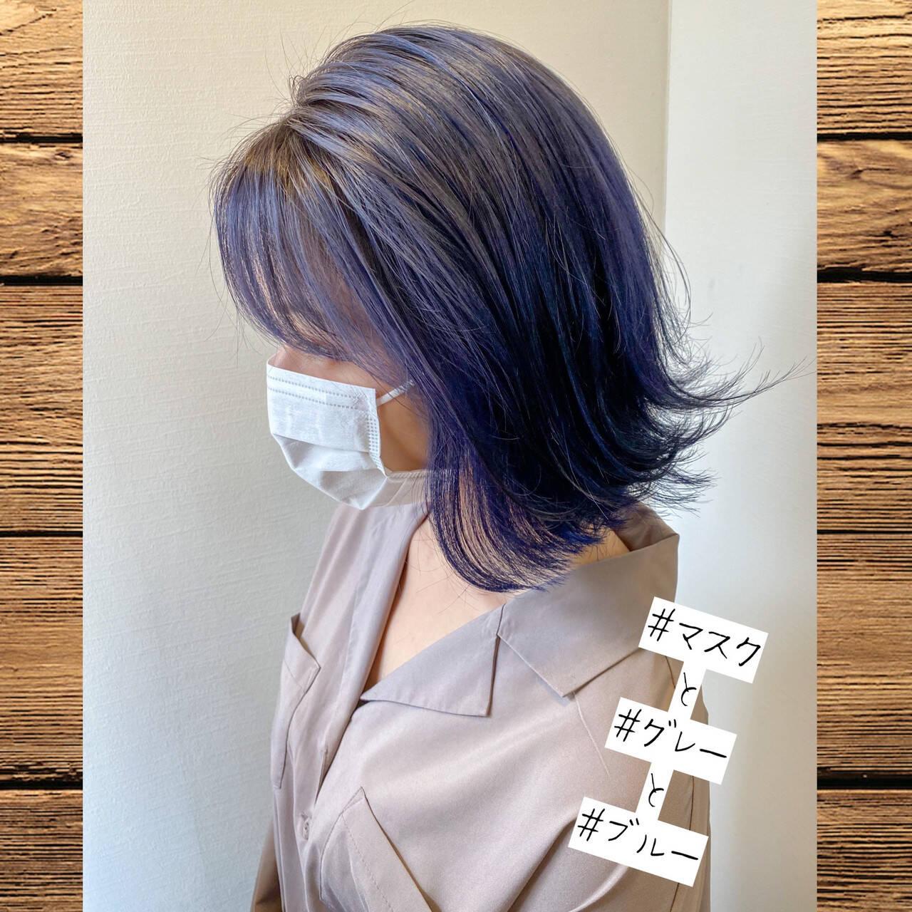 ブルー モード ブリーチオンカラー グレーヘアスタイルや髪型の写真・画像