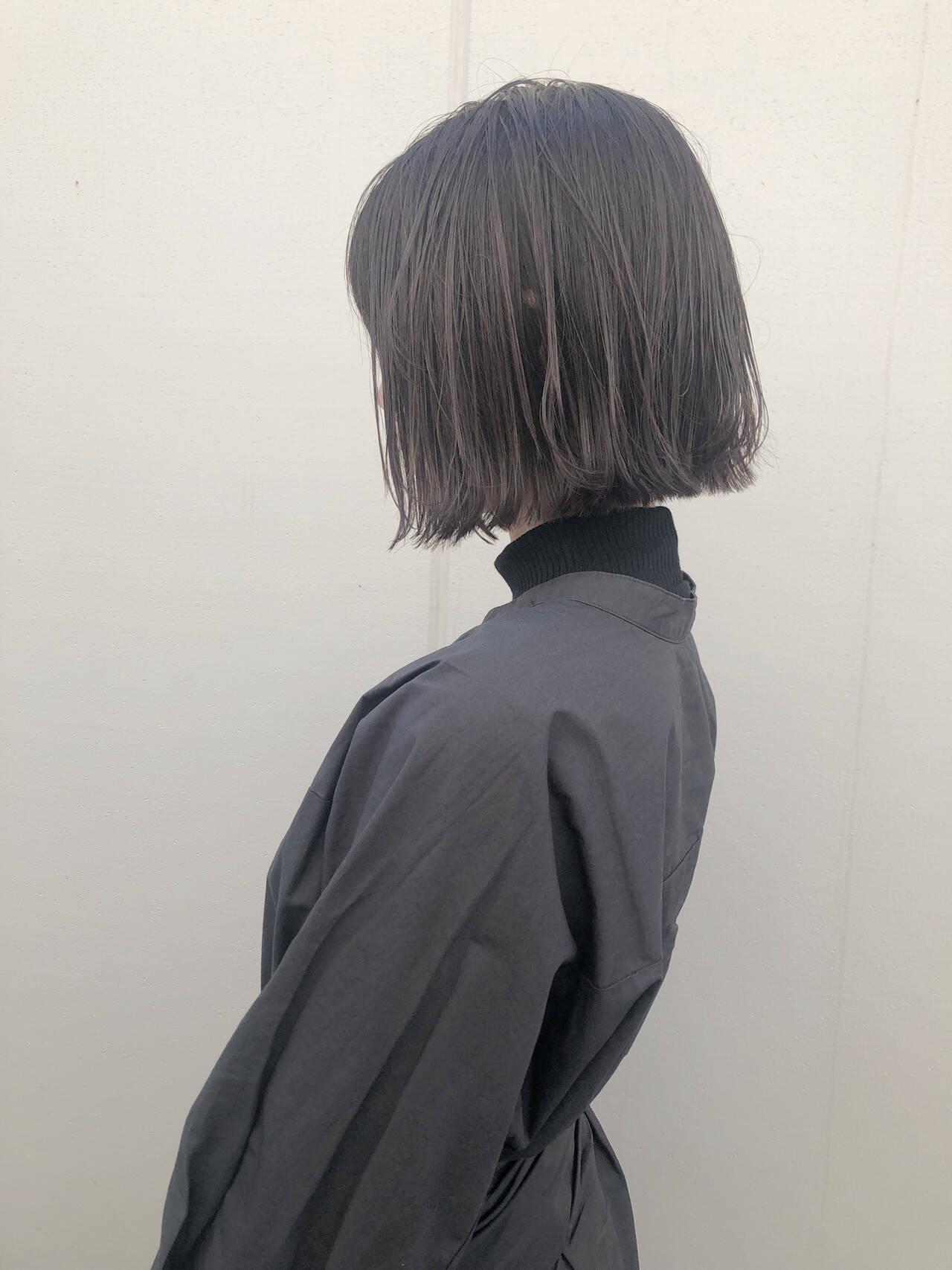 ボブ ナチュラル 透明感カラー 外ハネボブヘアスタイルや髪型の写真・画像
