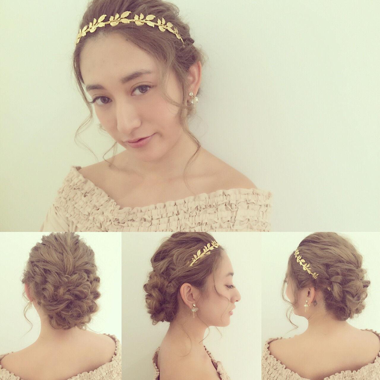 ヘアアレンジ 大人かわいい ゆるふわ 結婚式ヘアスタイルや髪型の写真・画像