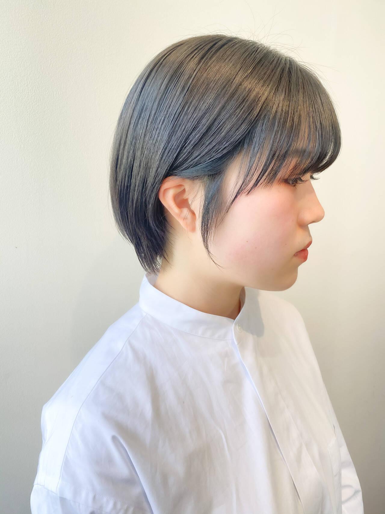 ナチュラル ショートボブ ミントアッシュ ショートヘアスタイルや髪型の写真・画像