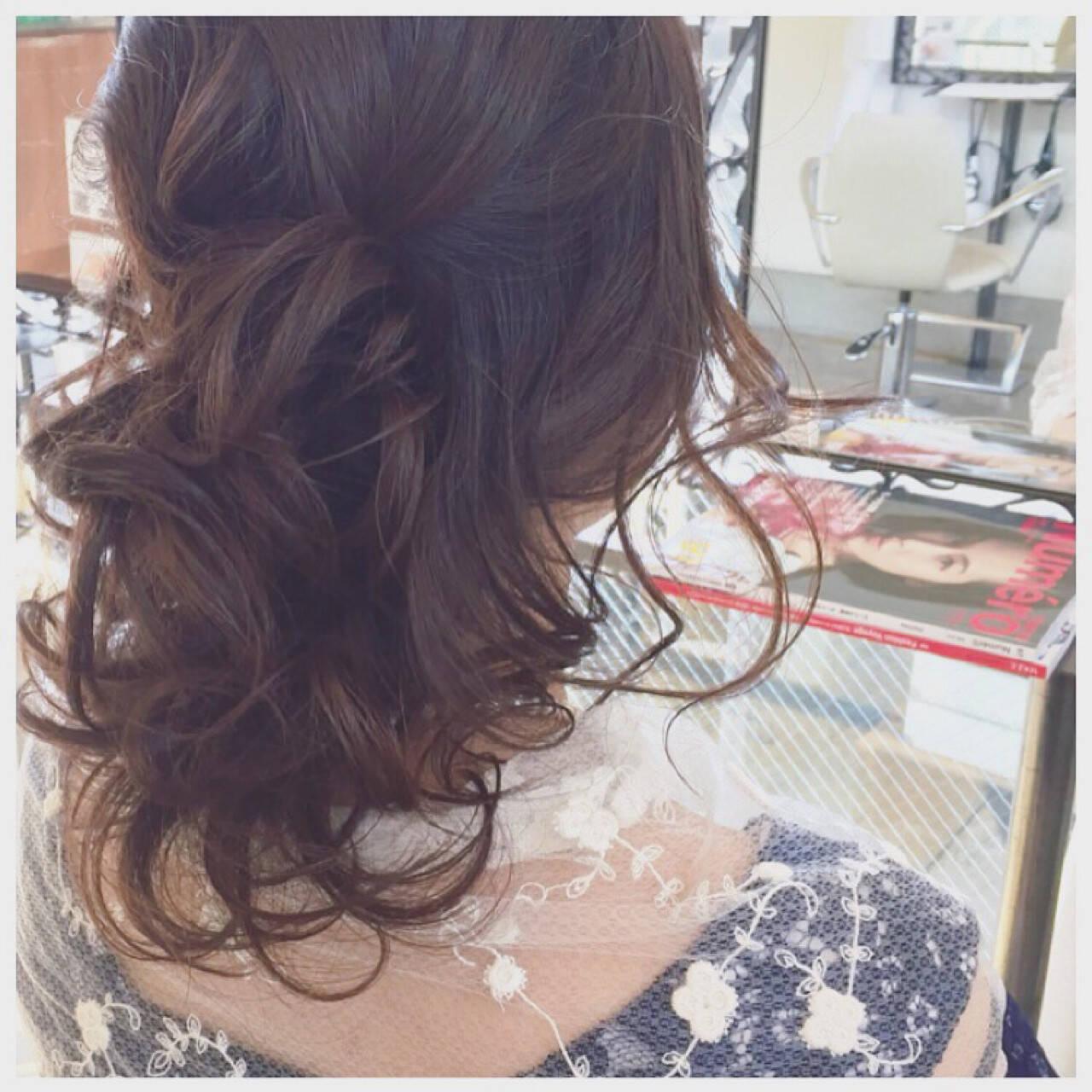フェミニン モテ髪 ヘアアレンジ ゆるふわヘアスタイルや髪型の写真・画像