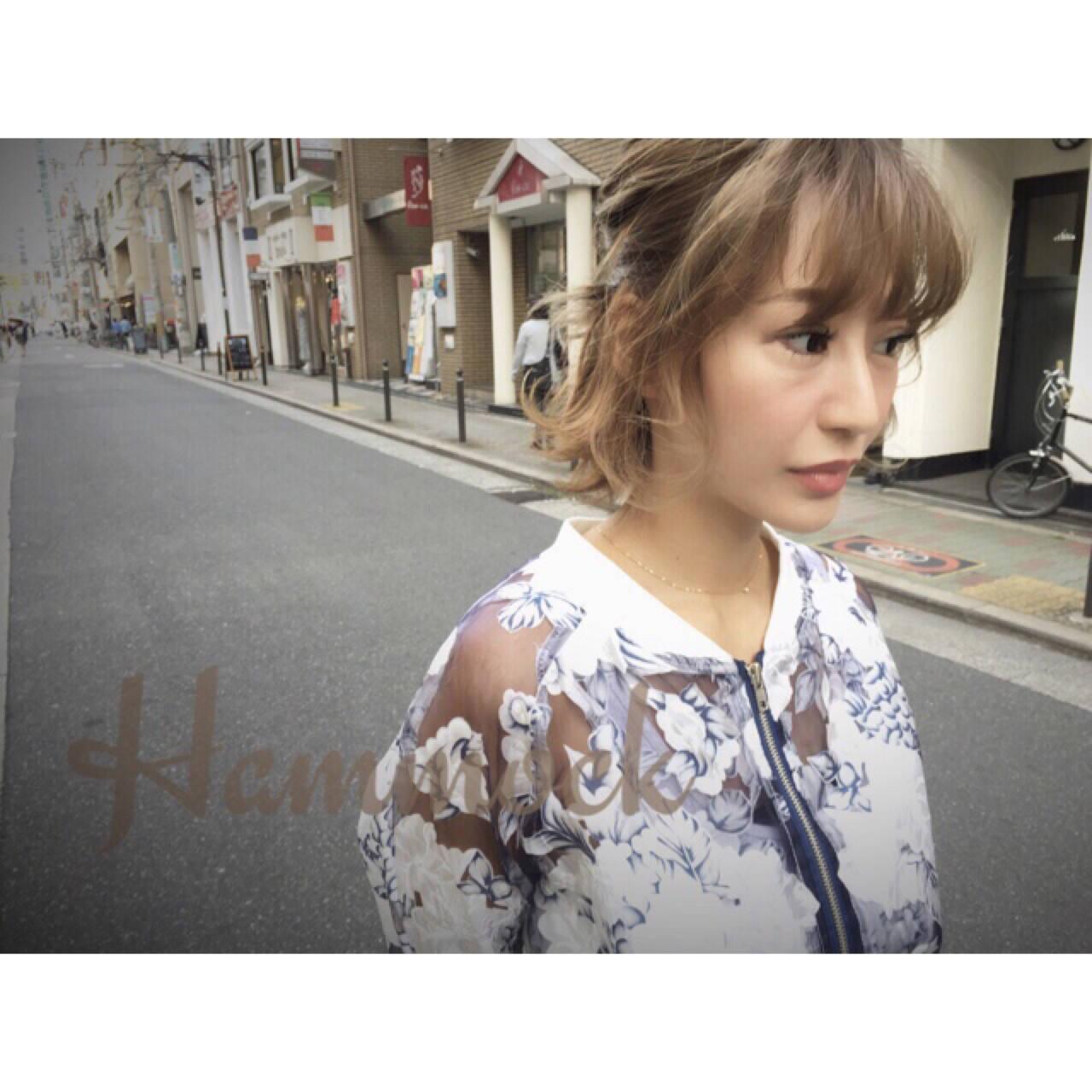 ハイライト ショート 簡単ヘアアレンジ 外国人風ヘアスタイルや髪型の写真・画像