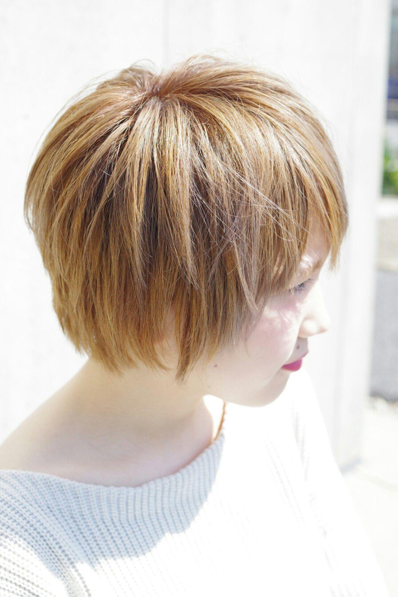 ハイトーン ショートボブ 外国人風 ショートヘアスタイルや髪型の写真・画像