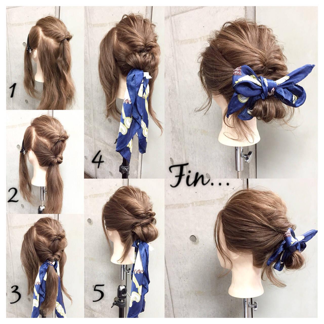 ヘアアレンジ ショート ヘアアクセ セミロングヘアスタイルや髪型の写真・画像