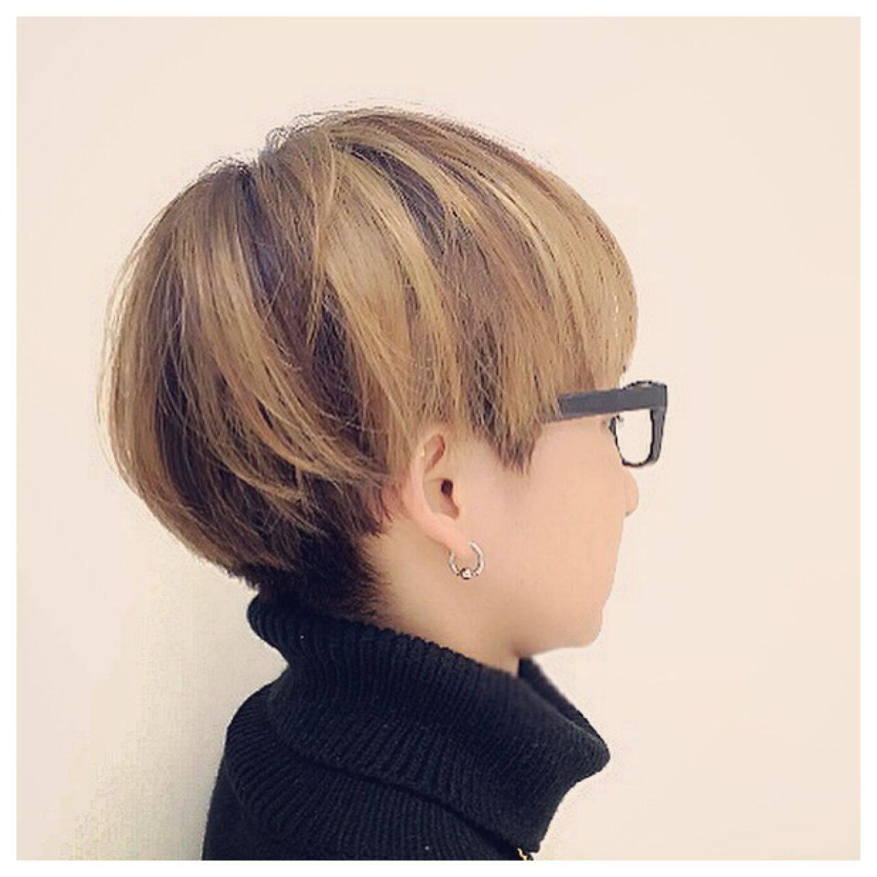 モード 外国人風 ショート ストレートヘアスタイルや髪型の写真・画像