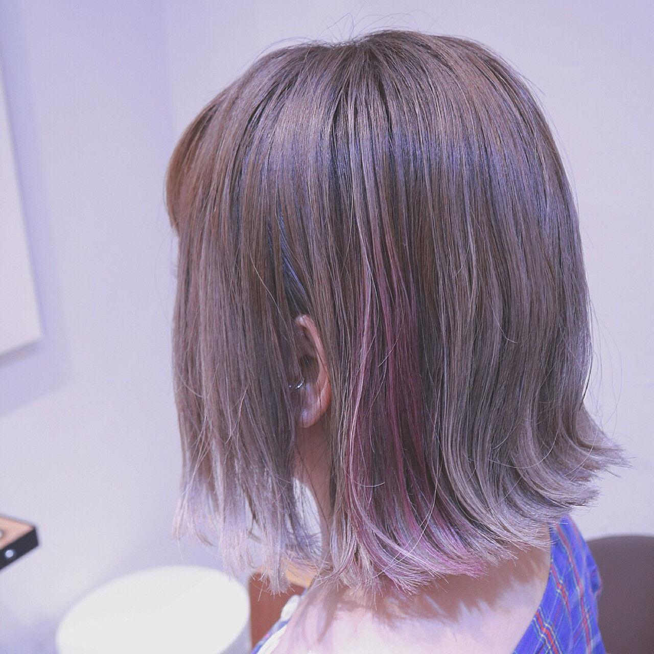インナーカラー ストリート グラデーションカラー 外ハネヘアスタイルや髪型の写真・画像