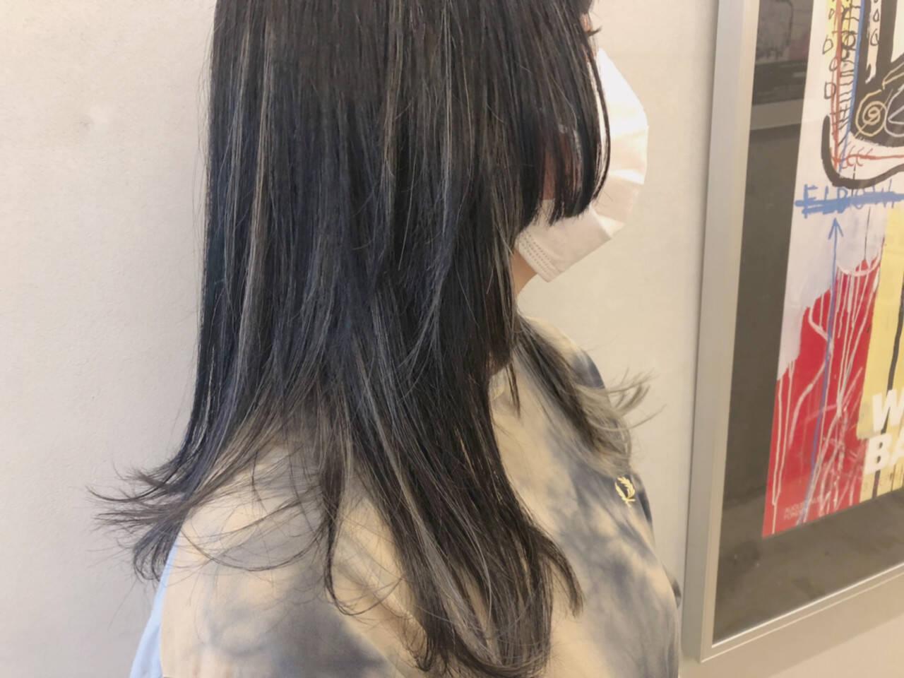 ナチュラル インナーカラーグレージュ ダブルカラー ハイライトヘアスタイルや髪型の写真・画像