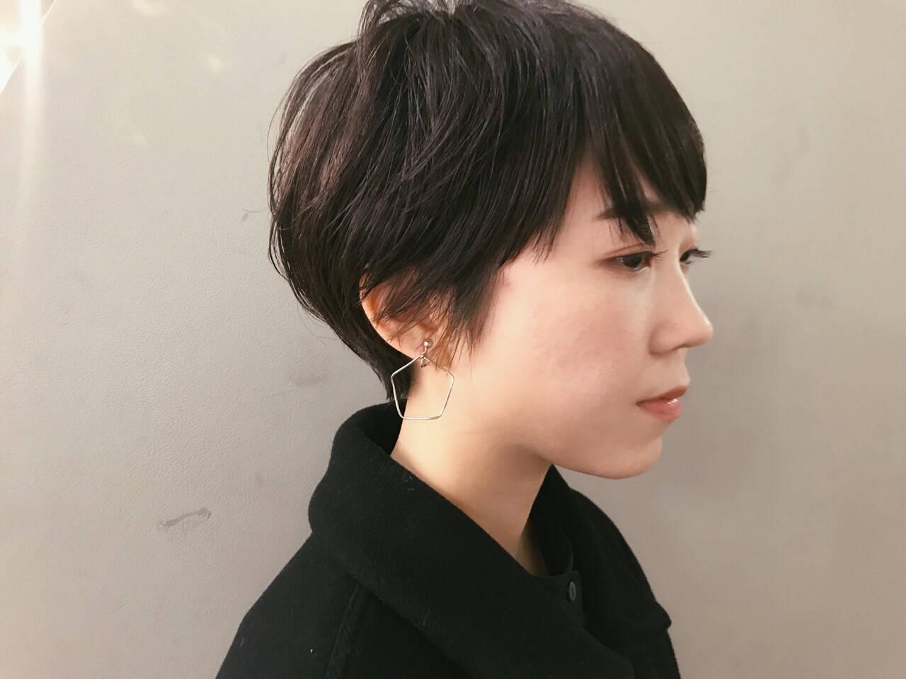 ナチュラル 黒髪 ショート ショートボブヘアスタイルや髪型の写真・画像