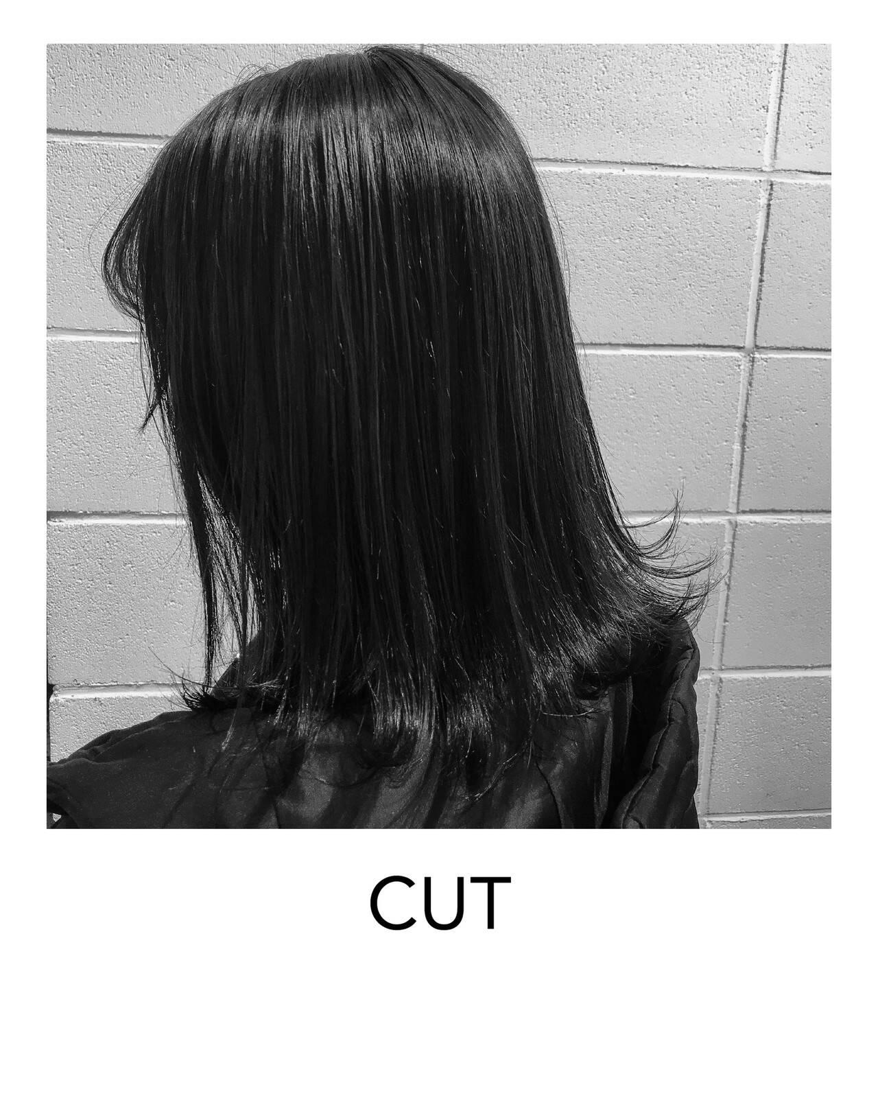 切りっぱなしボブ ヘアカット 原宿 黒髪ヘアスタイルや髪型の写真・画像