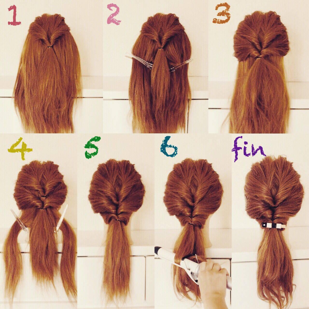 くるりんぱ セルフヘアアレンジ 簡単ヘアアレンジ ガーリーヘアスタイルや髪型の写真・画像