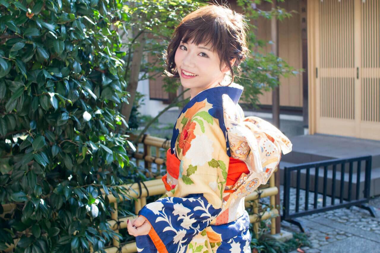 着物 簡単ヘアアレンジ ショート ヘアアレンジヘアスタイルや髪型の写真・画像