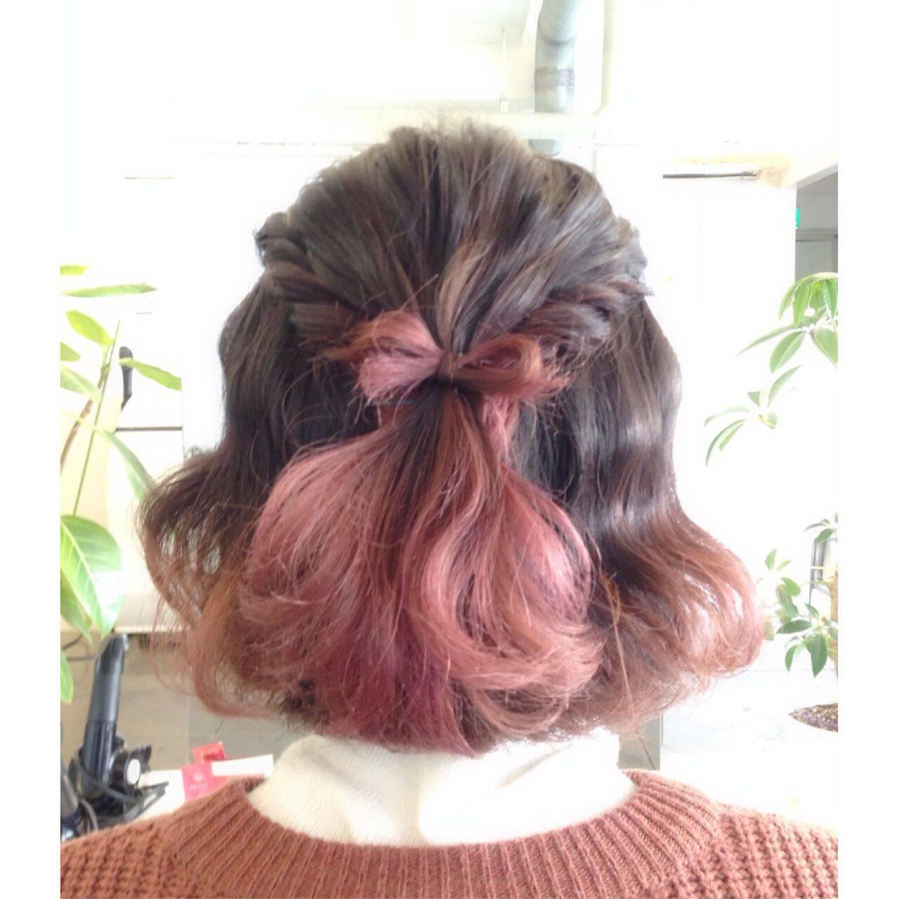 ナチュラル ヘアアレンジ グラデーションカラー ガーリーヘアスタイルや髪型の写真・画像