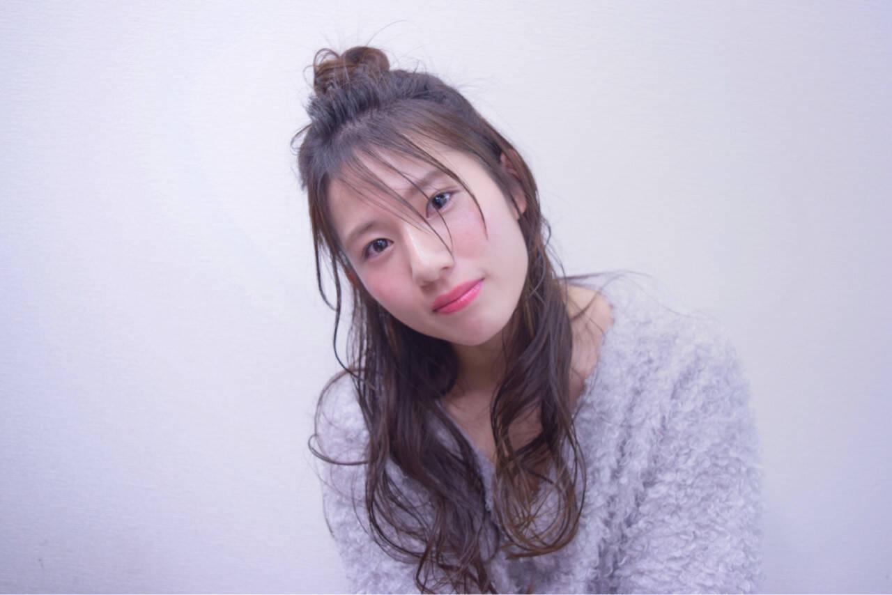 ハーフアップ ロング デート 簡単ヘアアレンジヘアスタイルや髪型の写真・画像