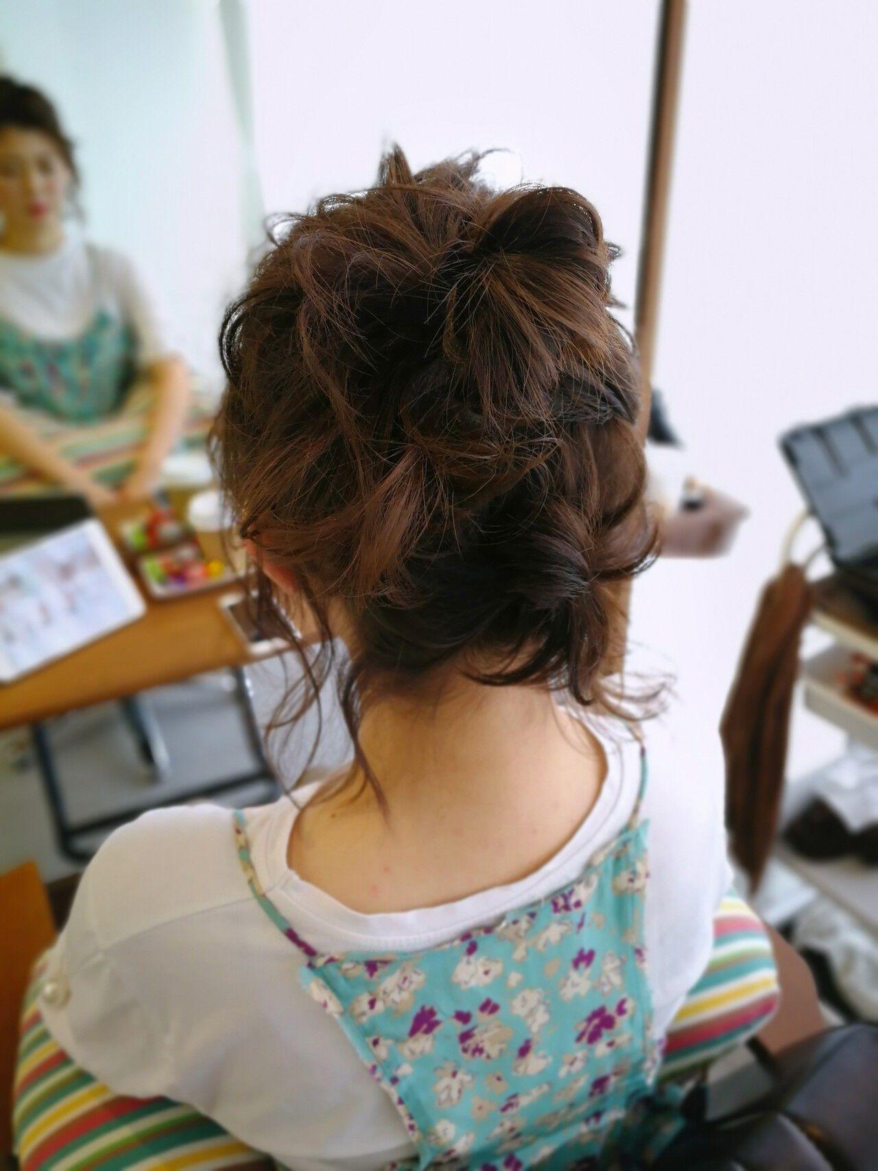 ガーリー ヘアアレンジ  ボブヘアスタイルや髪型の写真・画像
