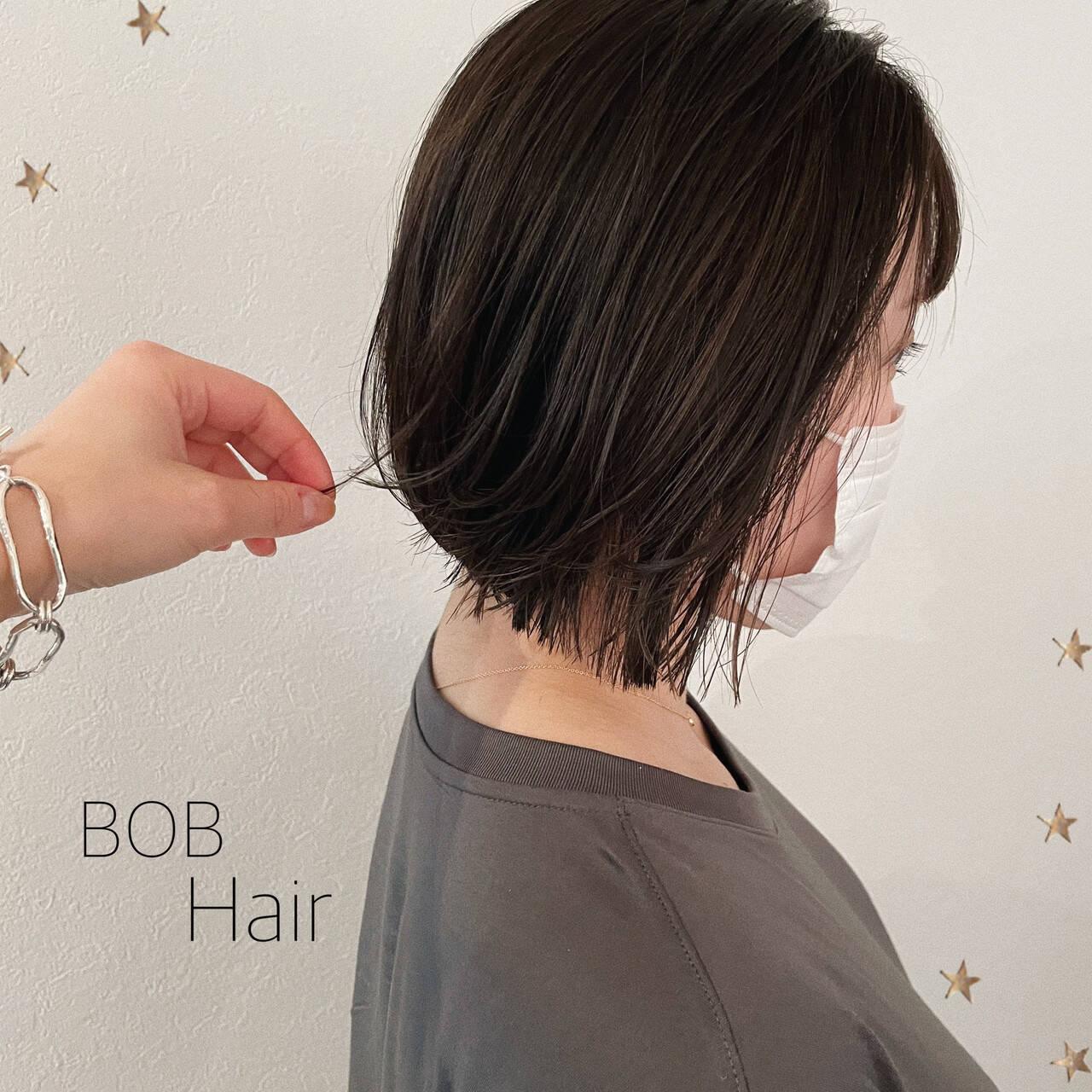 ナチュラル 切りっぱなしボブ ボブ ミニボブヘアスタイルや髪型の写真・画像