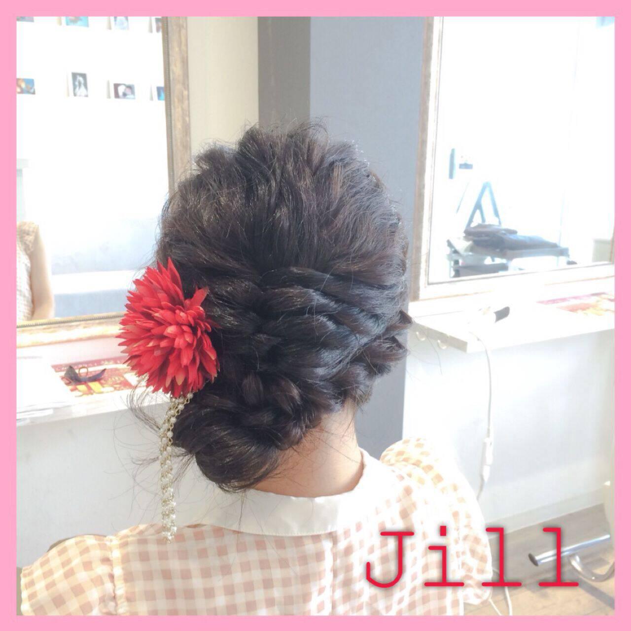 お祭り お団子 ショート ロープ編みヘアスタイルや髪型の写真・画像