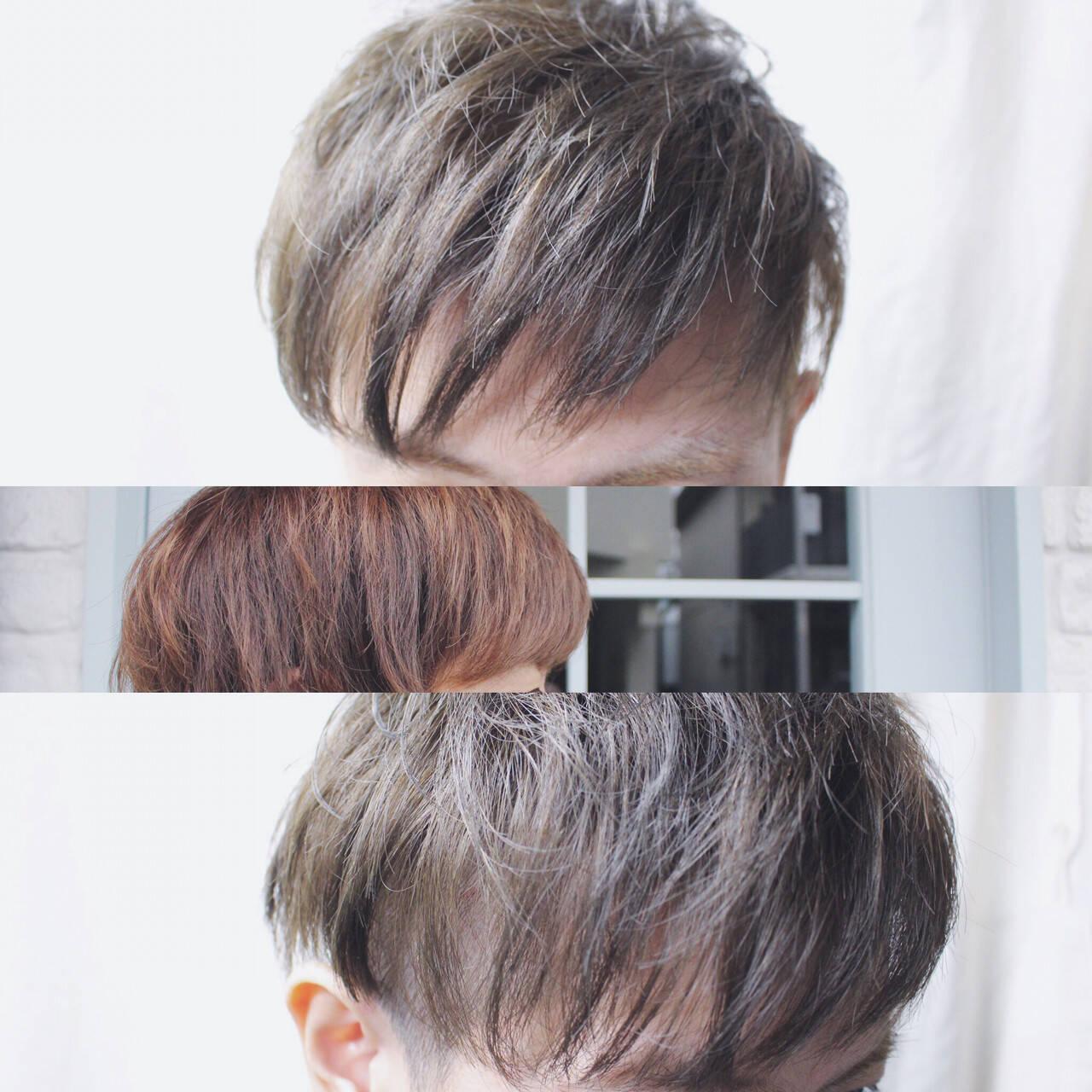 メンズ ストリート ボーイッシュ アッシュヘアスタイルや髪型の写真・画像