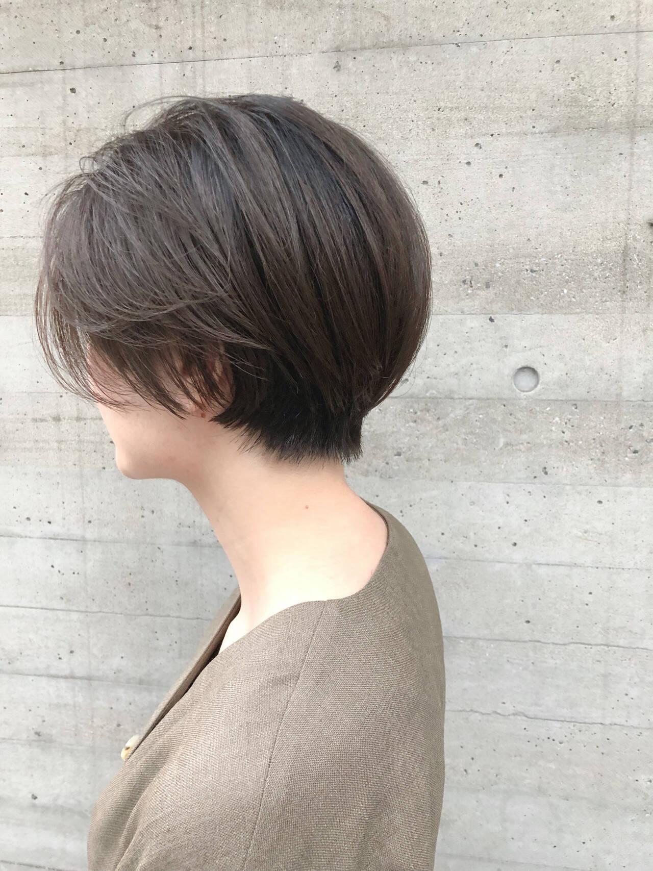 ナチュラル ショートボブ ショート ハンサムショートヘアスタイルや髪型の写真・画像