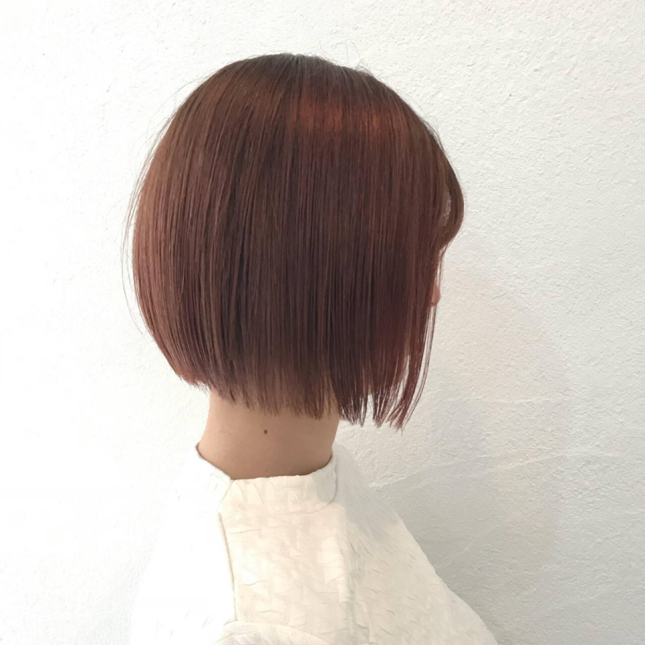 ナチュラル ボブ ピンク イルミナカラーヘアスタイルや髪型の写真・画像
