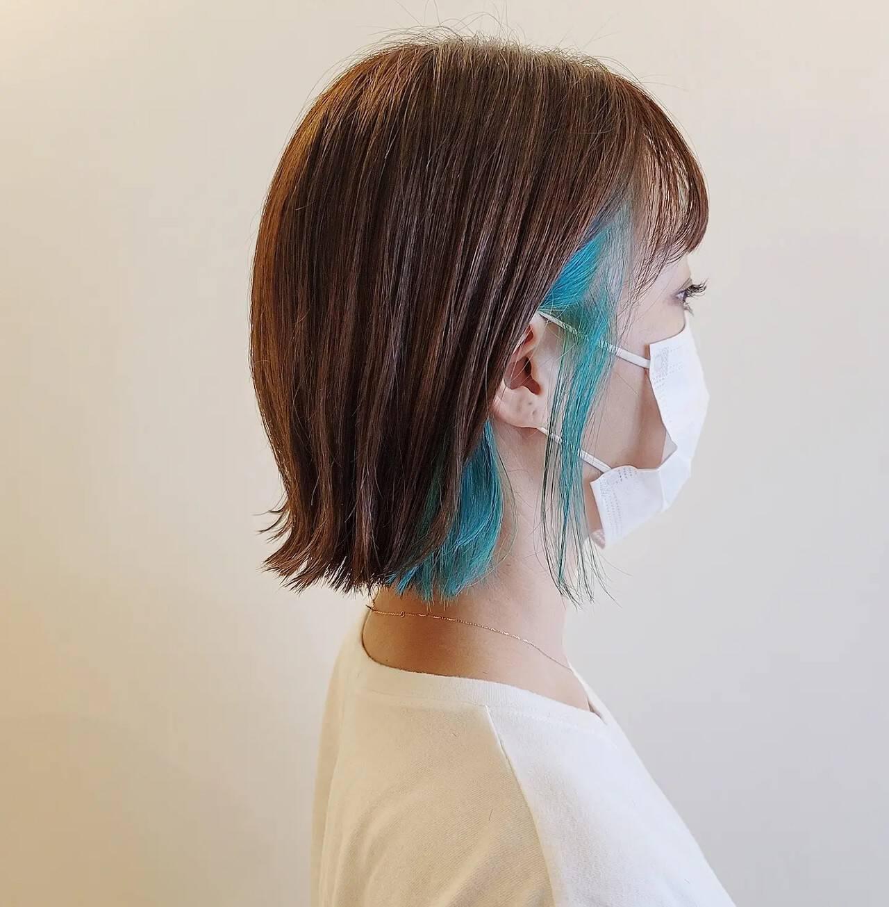 ヘアカット インナーカラー モード ボブヘアスタイルや髪型の写真・画像