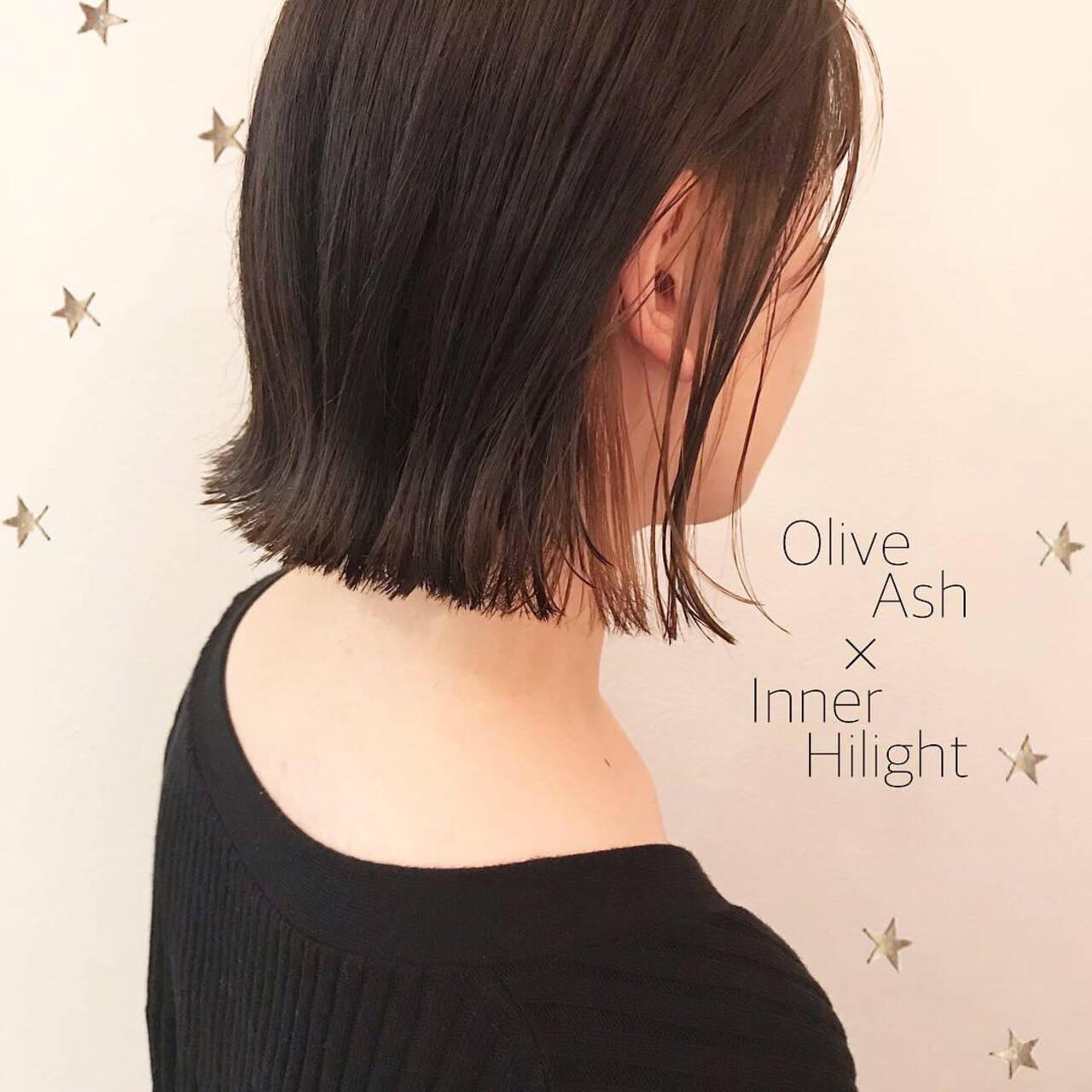 ボブ 切りっぱなし ストリート インナーカラーヘアスタイルや髪型の写真・画像