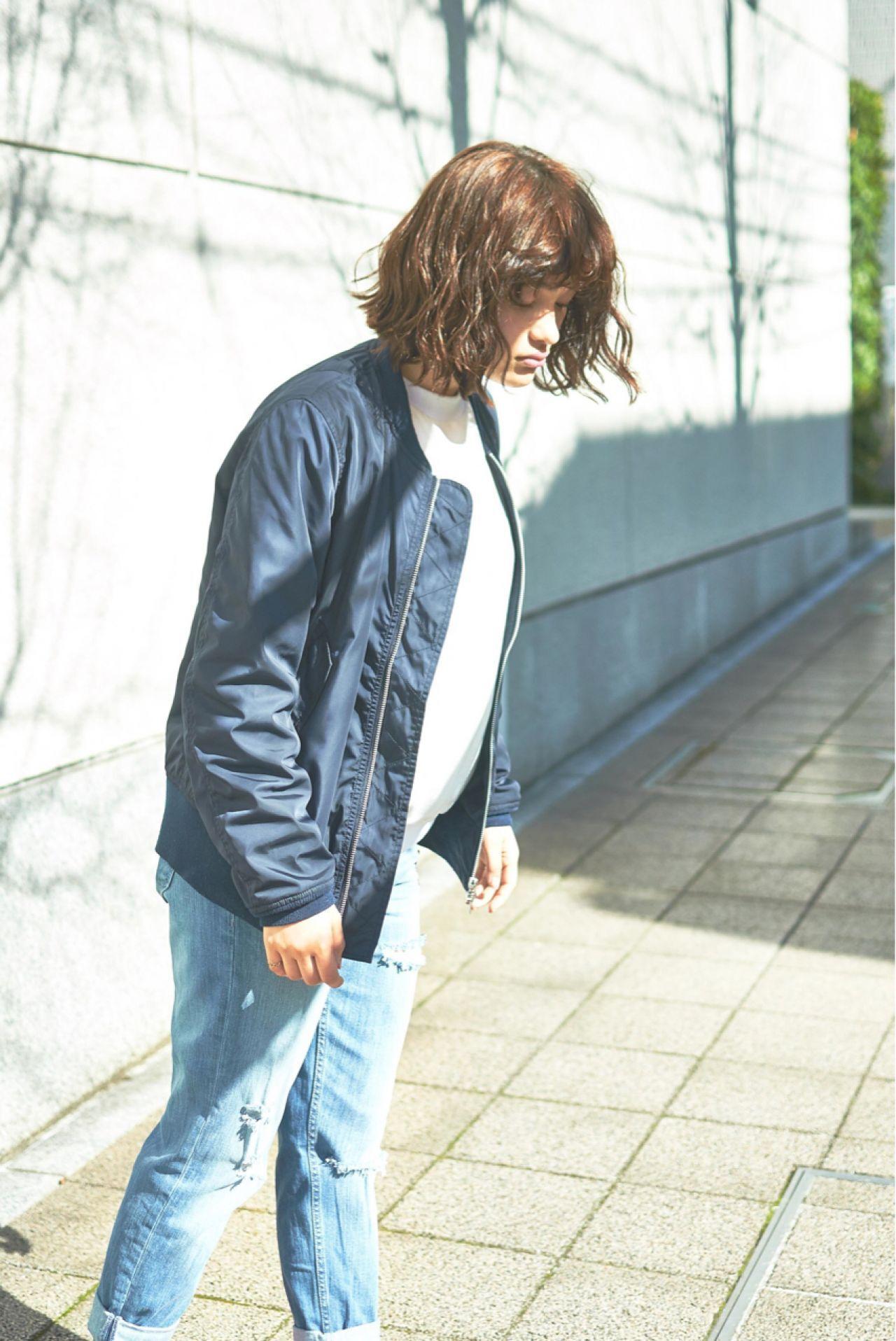 パンク ボブ ウェットヘア 暗髪ヘアスタイルや髪型の写真・画像