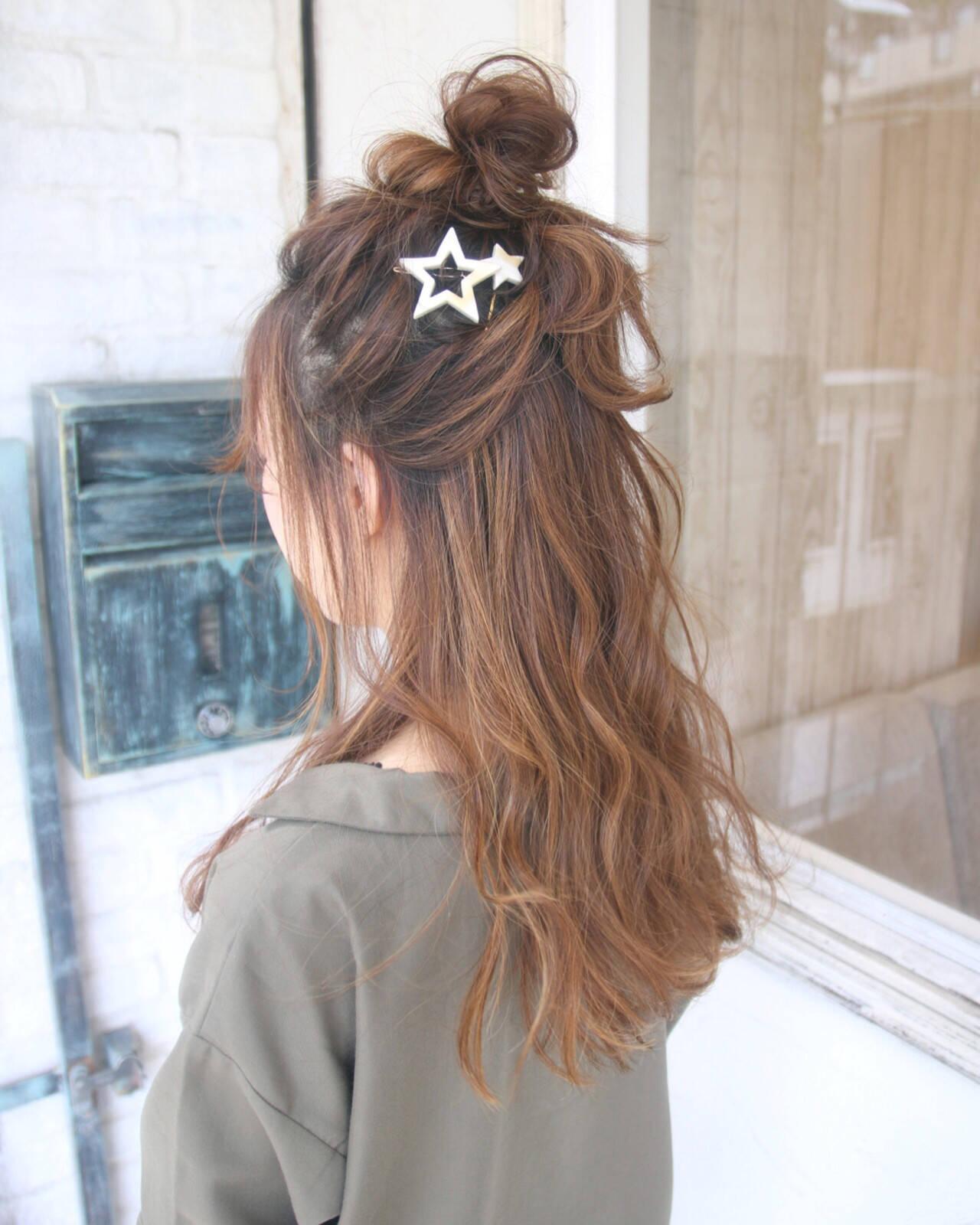 ヘアアレンジ ハーフアップ ロング ナチュラルヘアスタイルや髪型の写真・画像