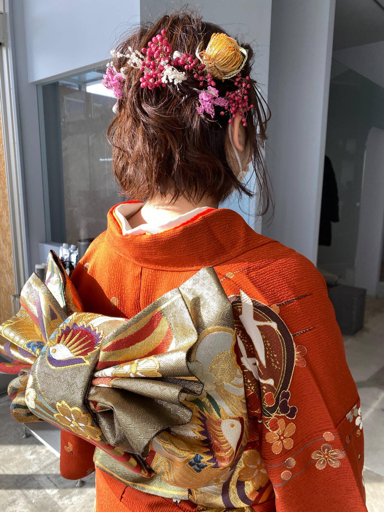 成人式カラー ボブ 成人式 成人式ヘアメイク着付けヘアスタイルや髪型の写真・画像