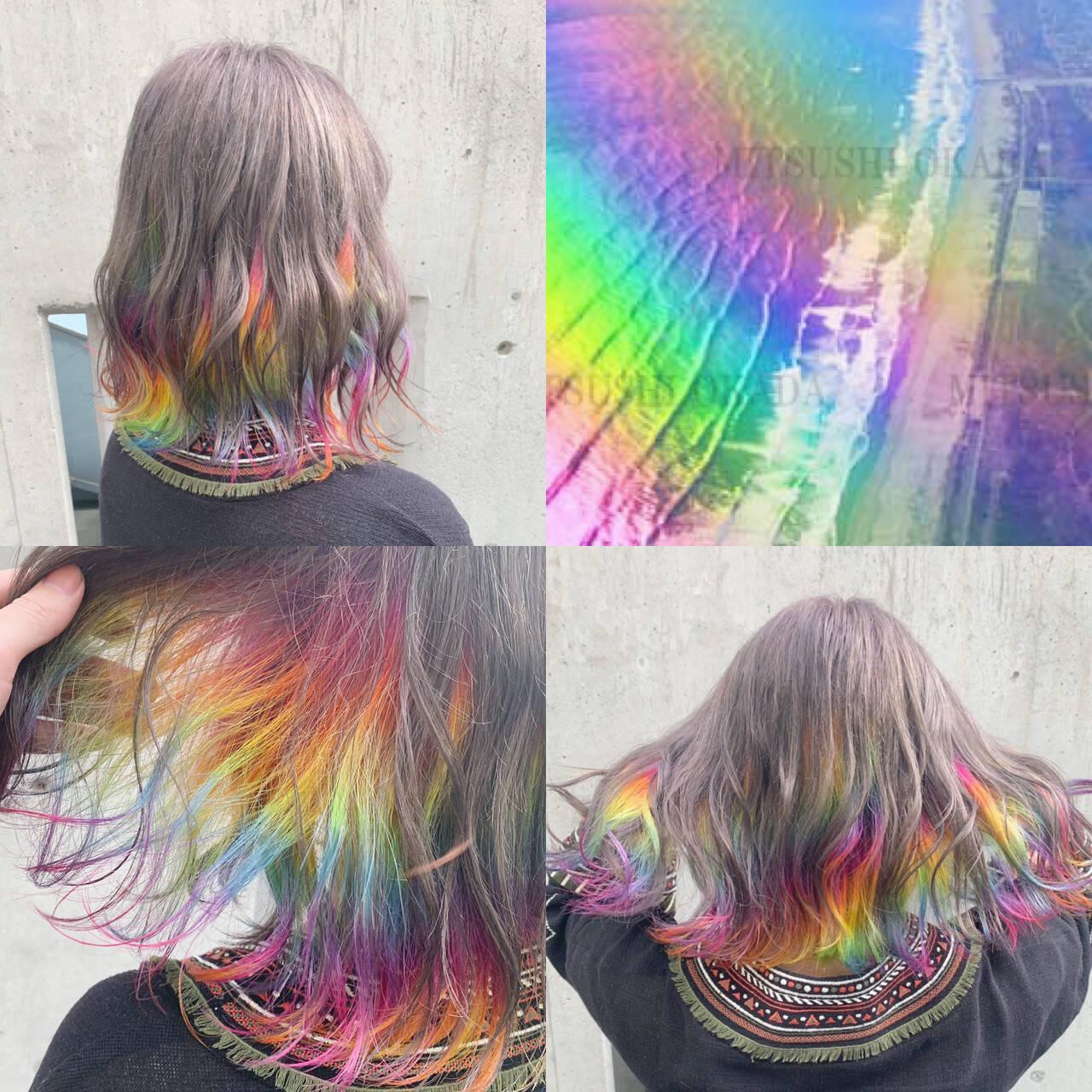 ボブ インナーカラー 外国人風 ストリートヘアスタイルや髪型の写真・画像