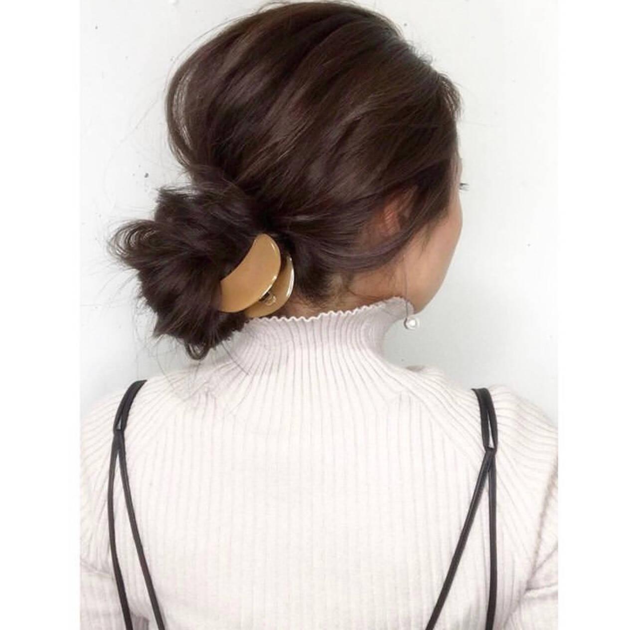 お団子ヘア ヘアアレンジ お団子 簡単ヘアアレンジヘアスタイルや髪型の写真・画像