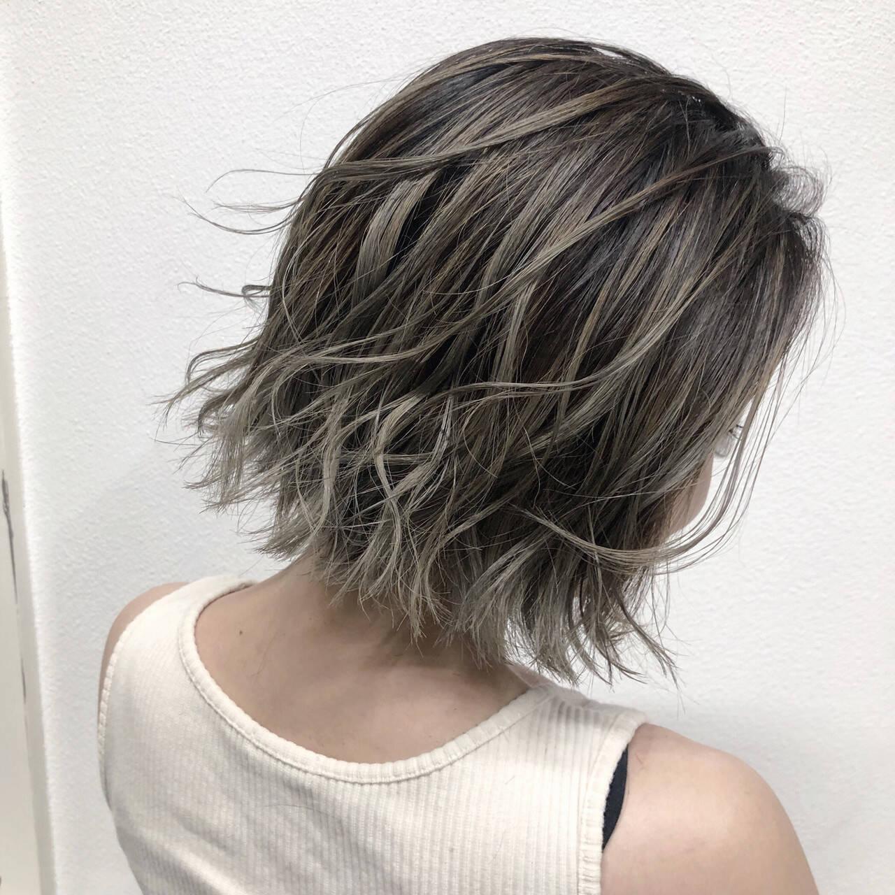 ハイライト バレイヤージュ 外国人風カラー ショートヘアヘアスタイルや髪型の写真・画像