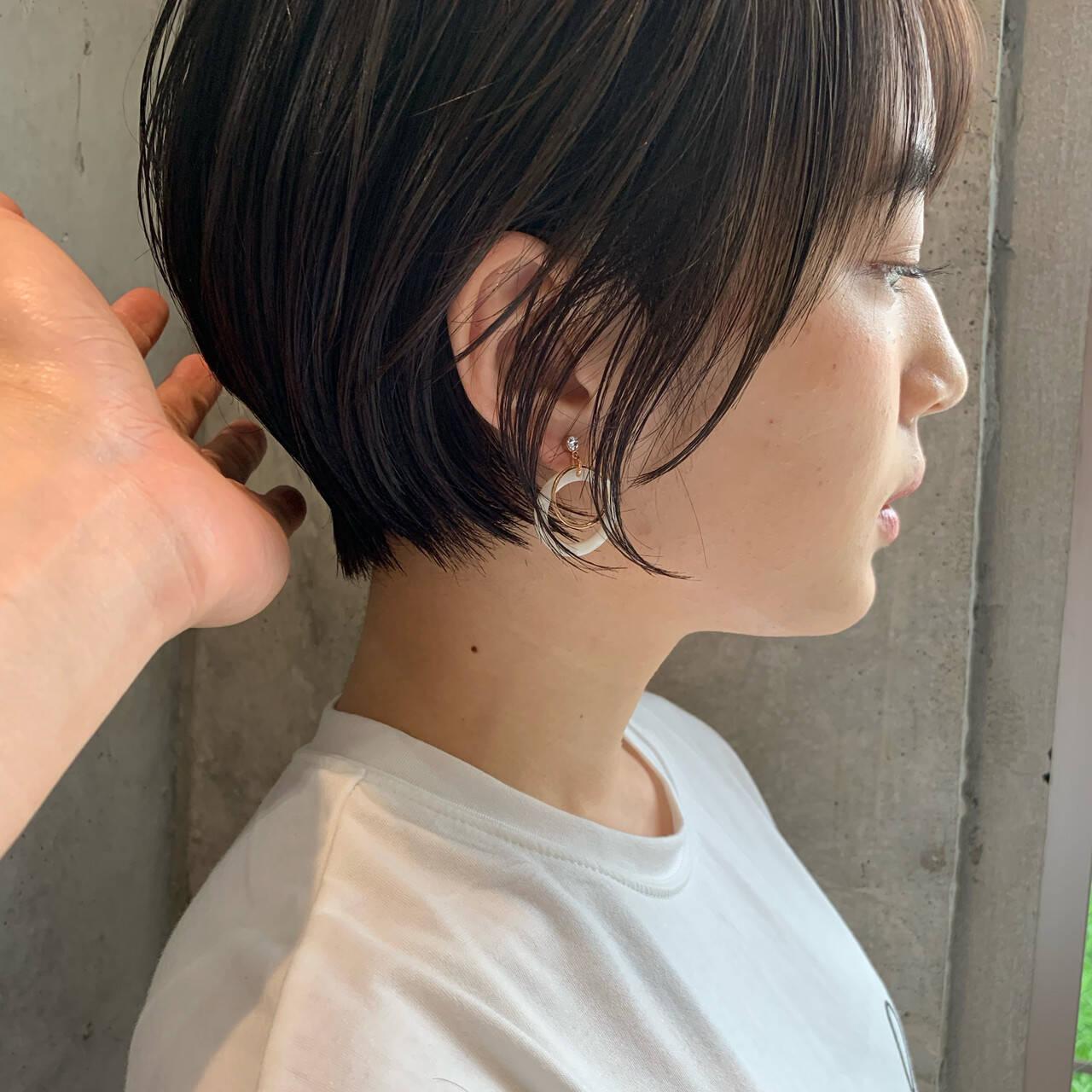 デート 小顔 ナチュラル ショートボブヘアスタイルや髪型の写真・画像