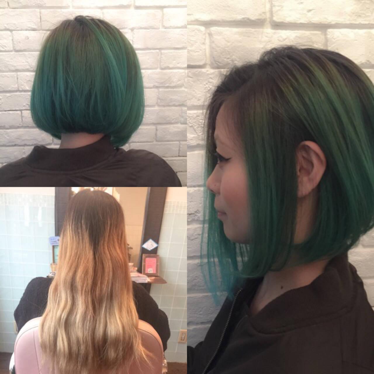 グラデーションカラー 前下がり 色気 ボブヘアスタイルや髪型の写真・画像