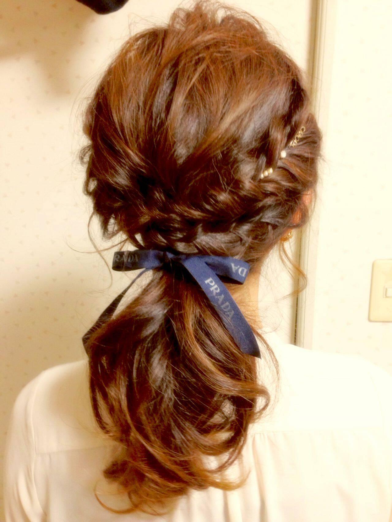 ナチュラル 編み込み 大人かわいい ヘアアレンジヘアスタイルや髪型の写真・画像
