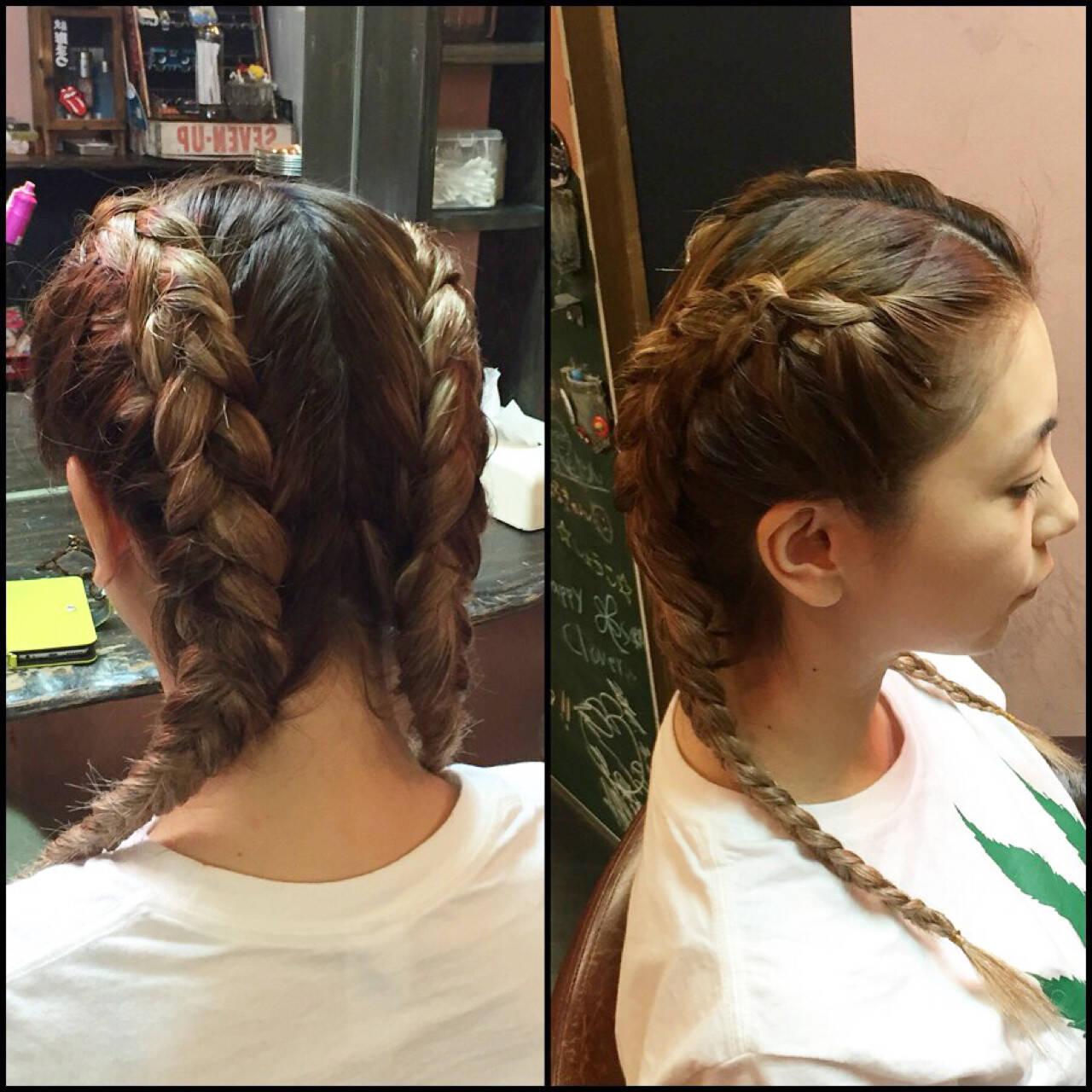 ヘアアレンジ 外国人風 セミロング 渋谷系ヘアスタイルや髪型の写真・画像