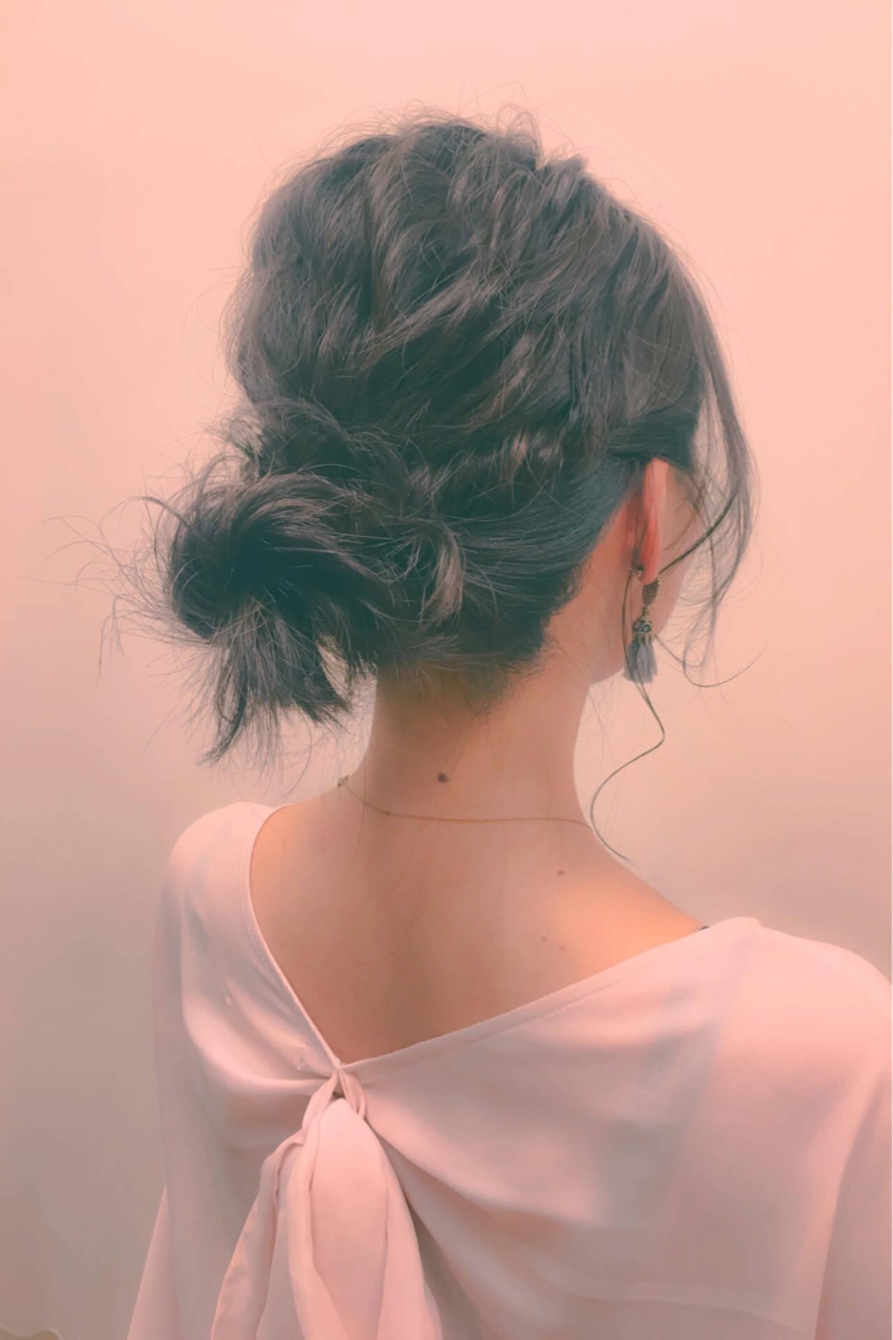 ハーフアップ ショート ヘアアレンジ セミロングヘアスタイルや髪型の写真・画像