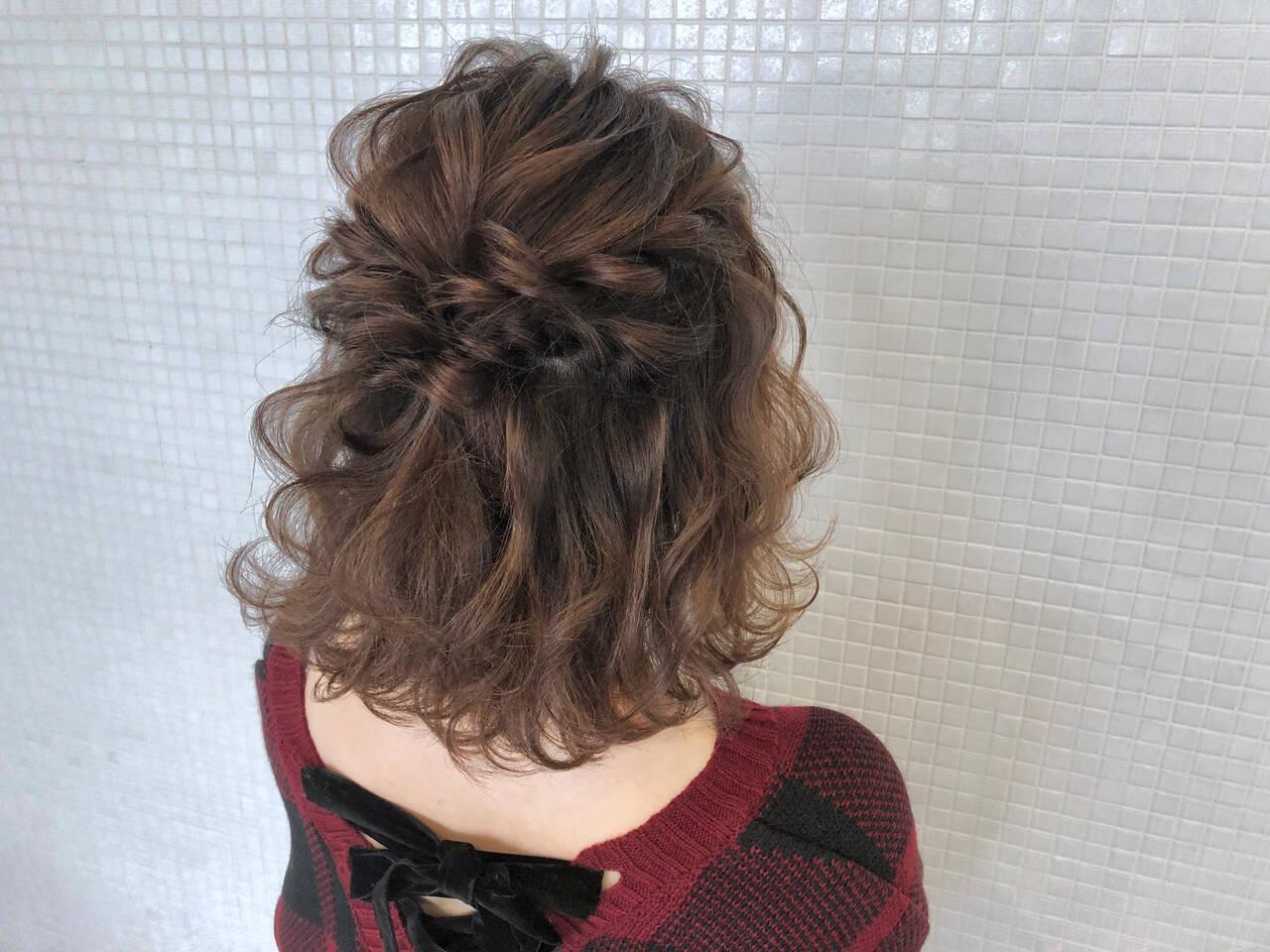 お出かけヘア 波ウェーブ ヘアアレンジ ボブアレンジヘアスタイルや髪型の写真・画像