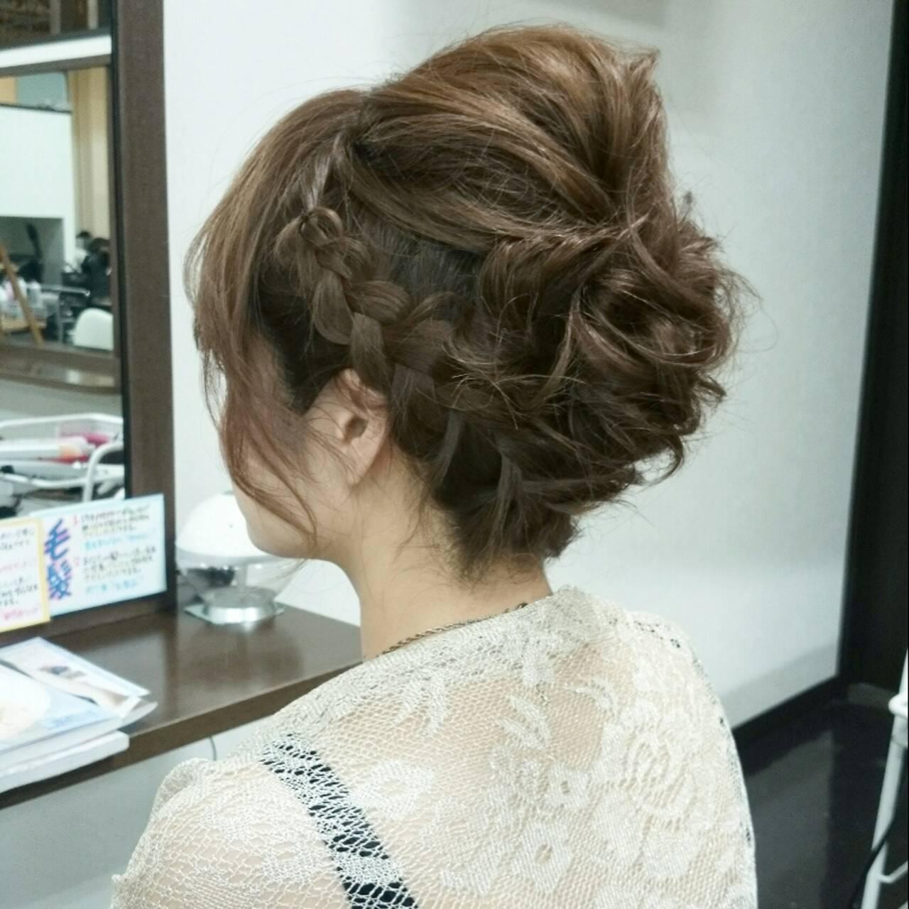 ヘアアレンジ フェミニン ミディアム アップスタイルヘアスタイルや髪型の写真・画像
